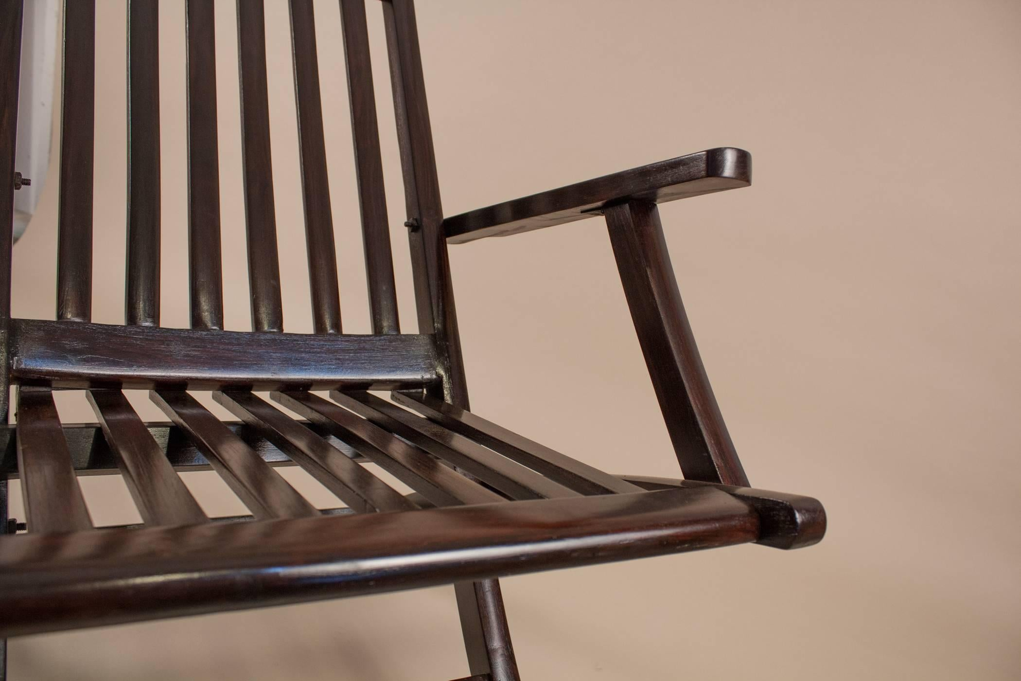 Pair Of British Rosewood Folding Steamer Deck Chairs At