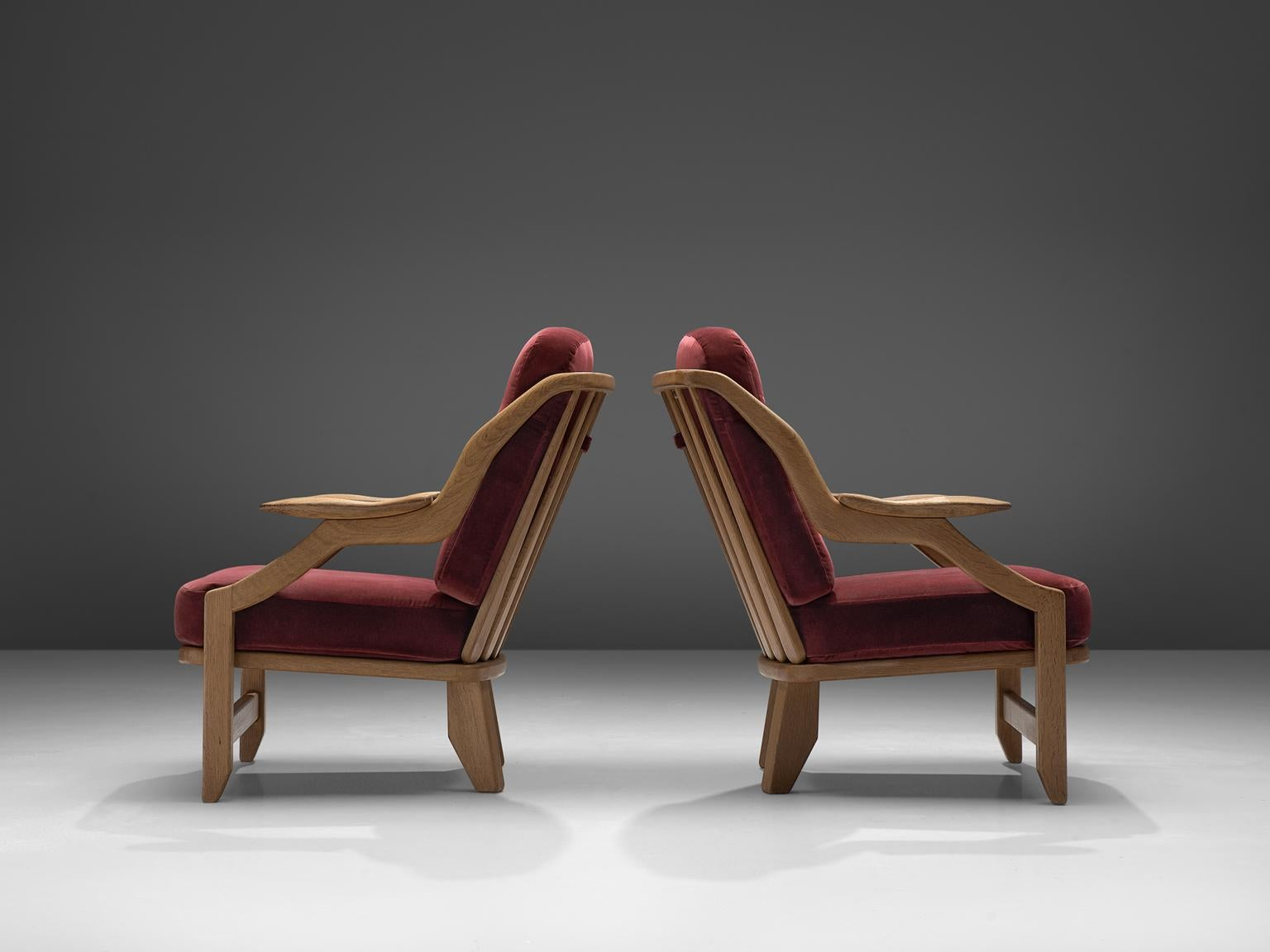Pair Of Burgundy Guillerme And Chambron Lounge Chairs For