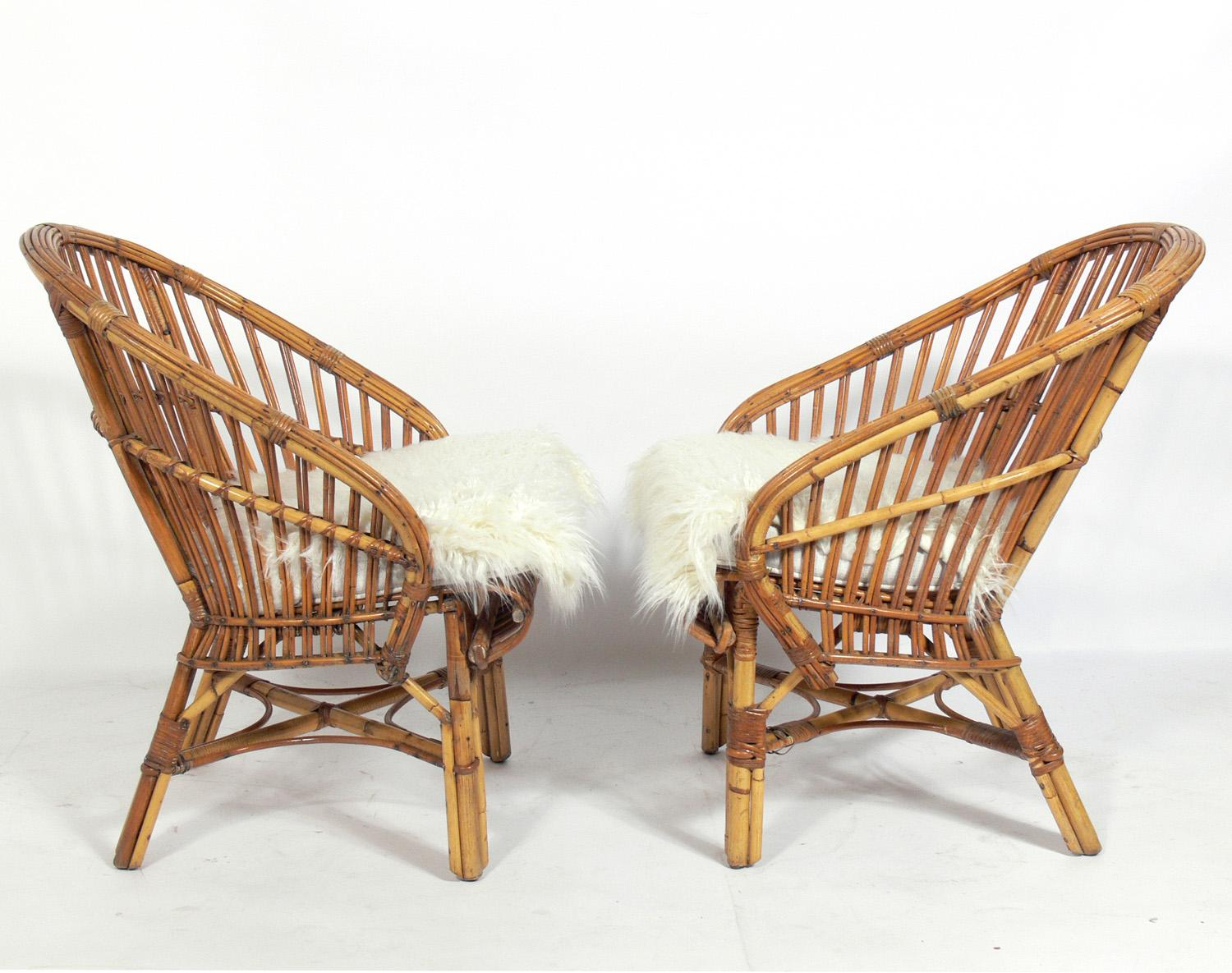 Rattan Chairs Pair Of Curvaceous Rattan Chairs
