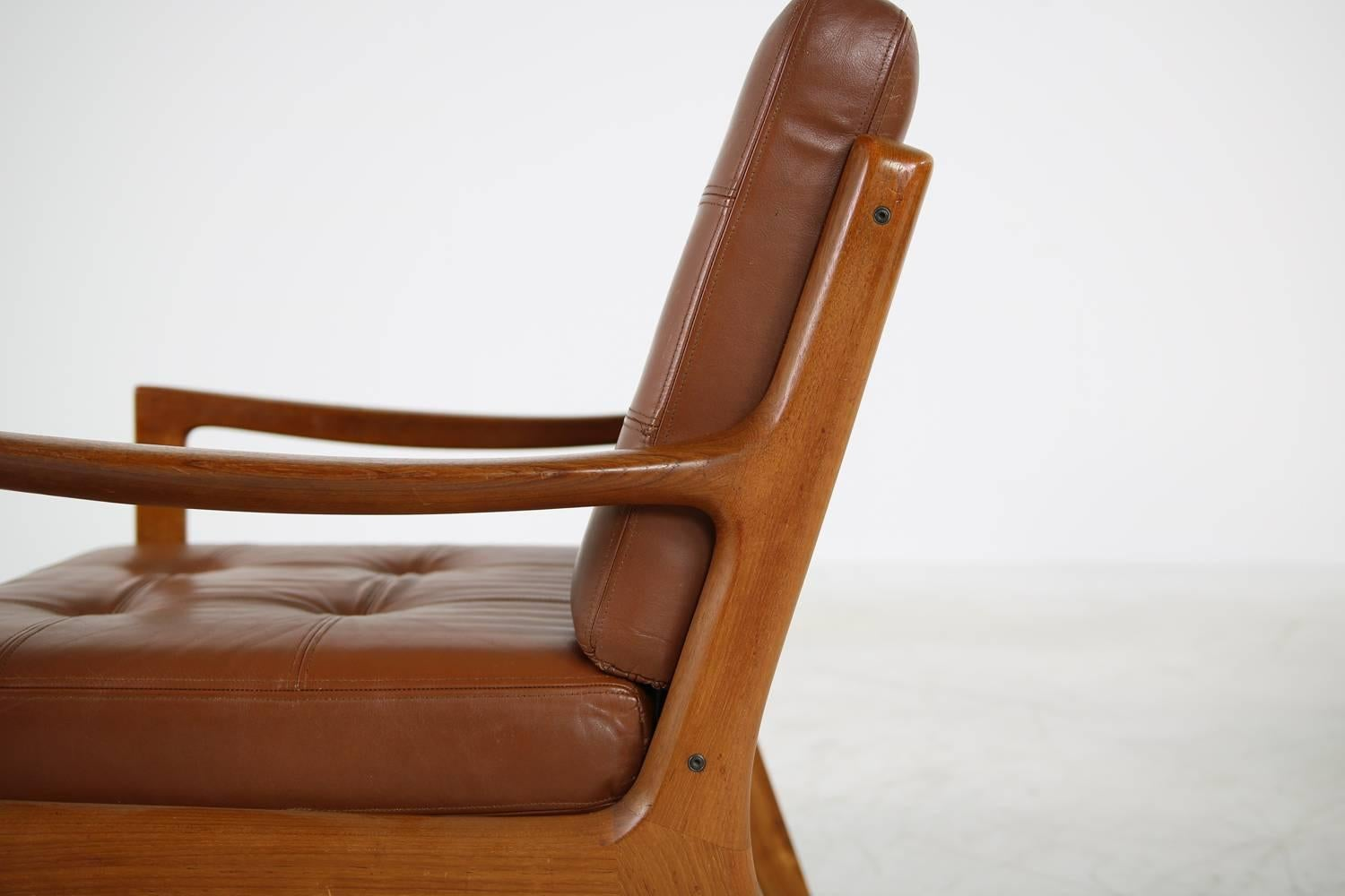 Ole Wanscher Sessel Pair Of Danish 1960s Teak And Brown Leather Lounge Easy Chairs By Ole Wanscher