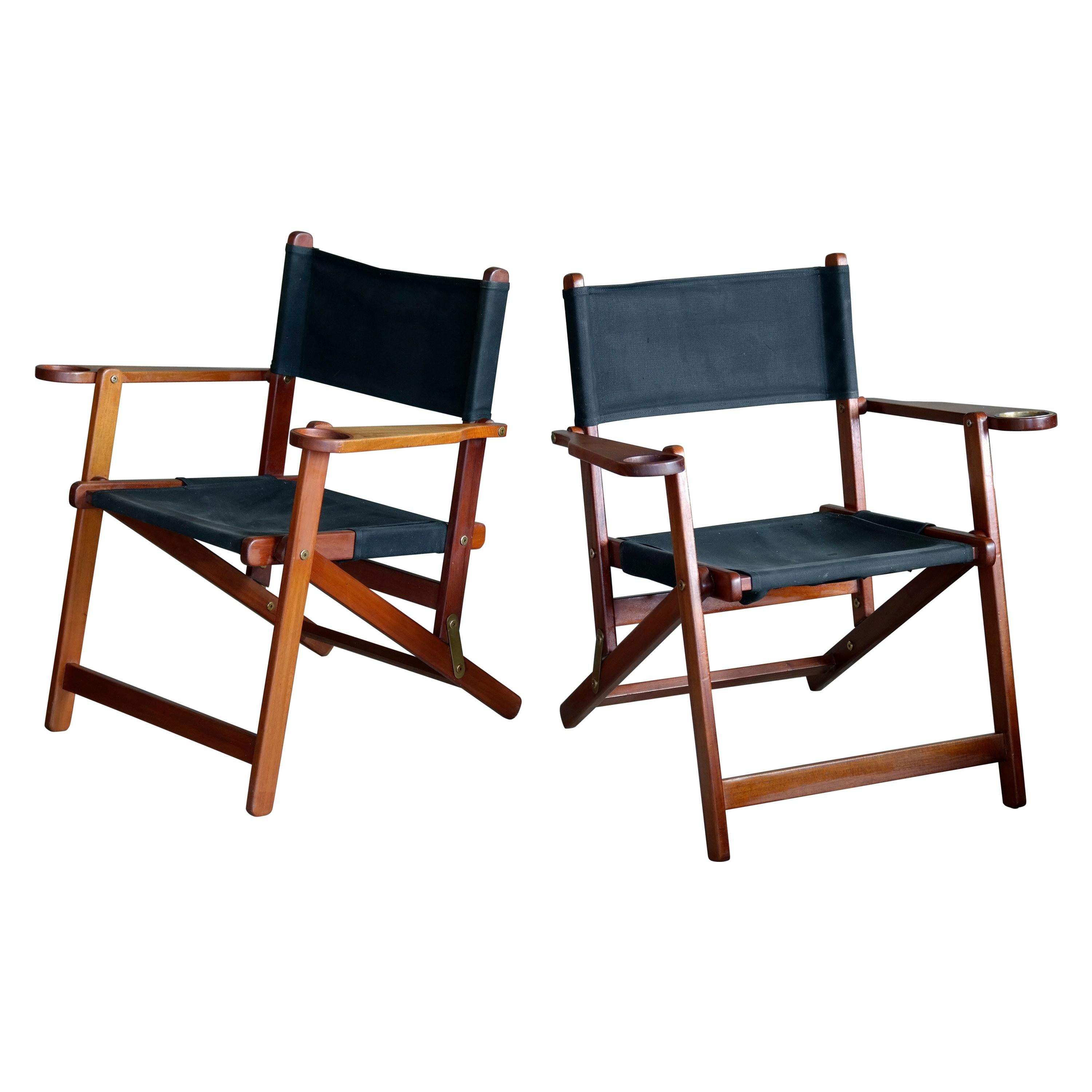 Pair Of Danish Midcentury Folding Deck Chairs In Solid Teak For Sale At 1stdibs