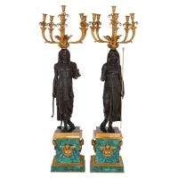 Pair of Empire Style Gilt, Patinated Bronze and Malachite ...