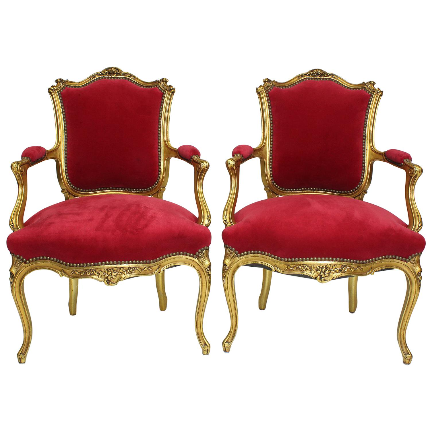 Pair Of French Louis Xv Style Giltwood Carved Rococo - Fauteuils Style Rococo