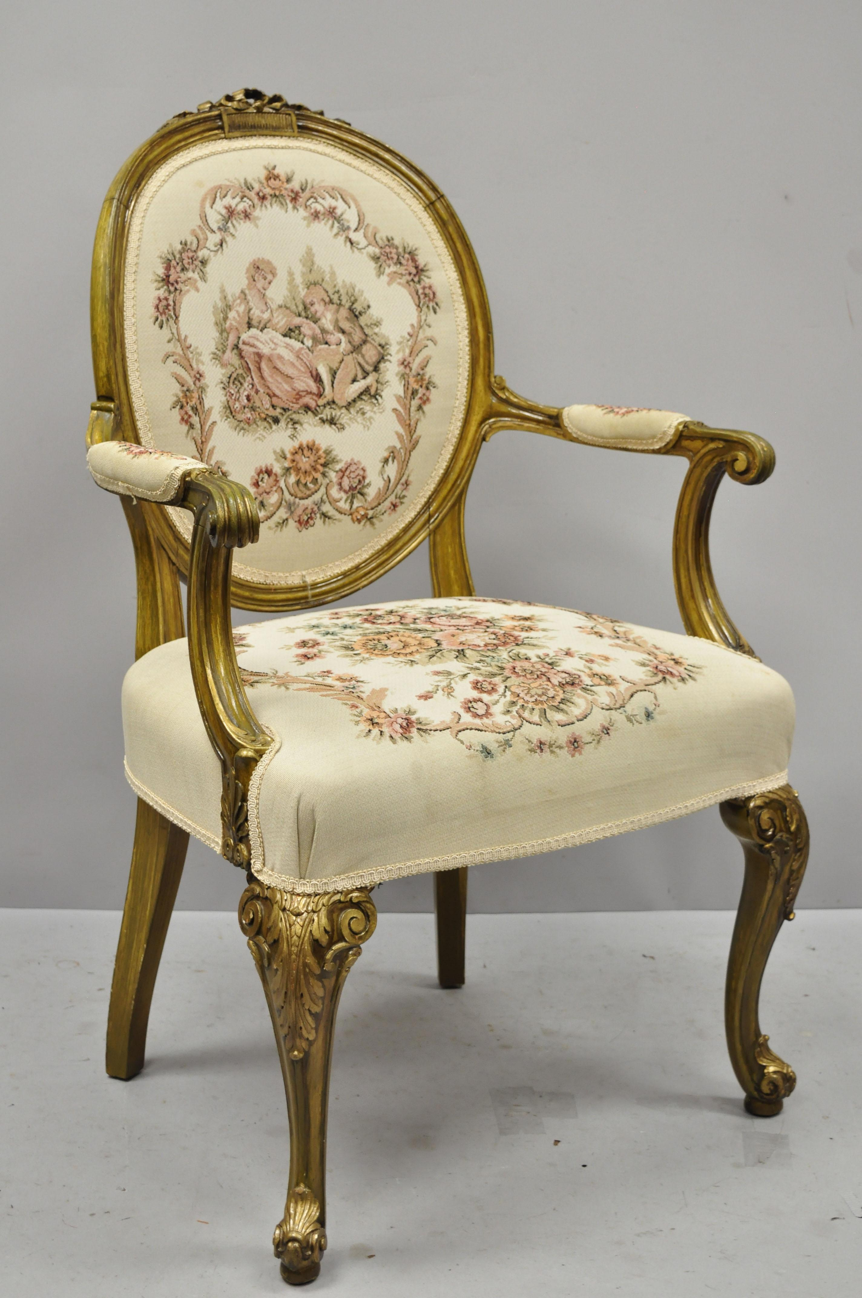 Pair Of French Louis Xv Victorian Style Needlepoint Tapestry Fireside Arm Chairs For Sale At 1stdibs