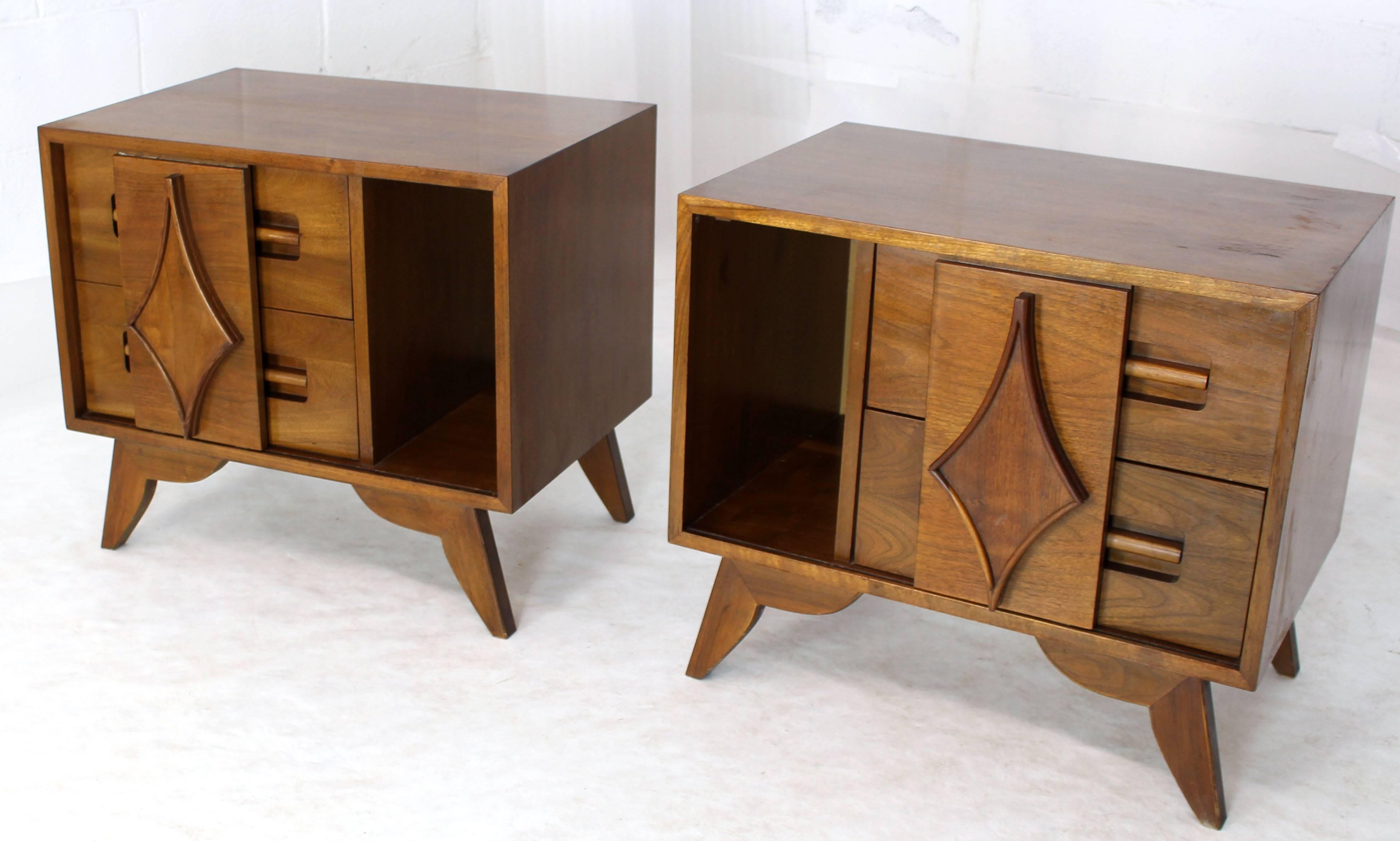 Pair Of Large Walnut Nightstands End Tables With Small