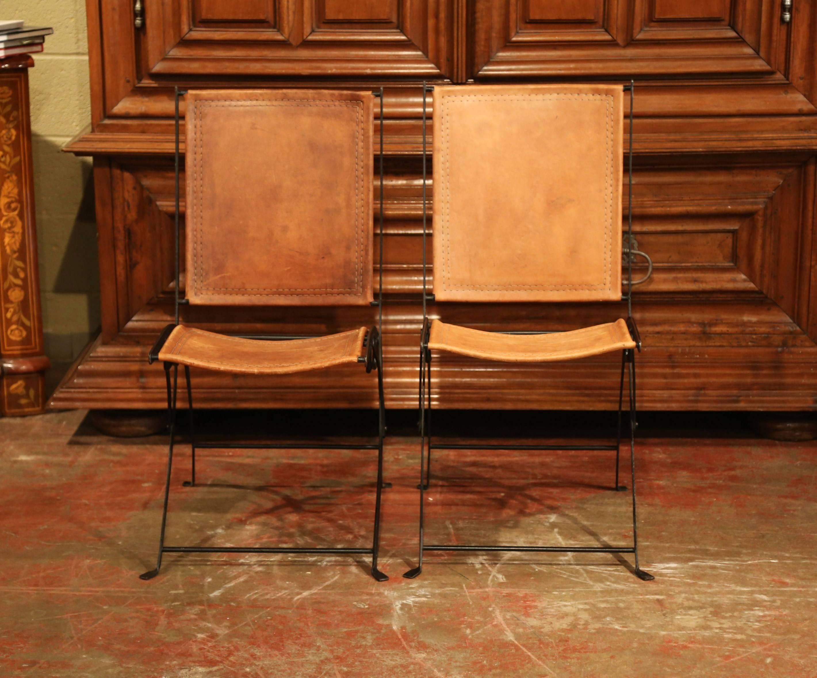 Pair Of Mid 20th Century French Iron And Leather Folding
