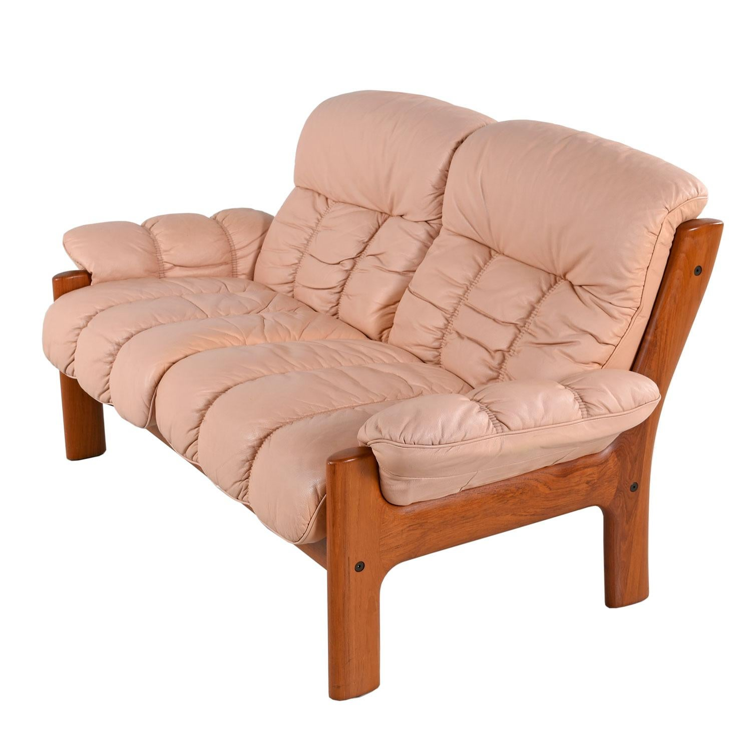 Stresless Pale Rose Ekornes Stressless Montana Solid Teak Loveseat Sofa