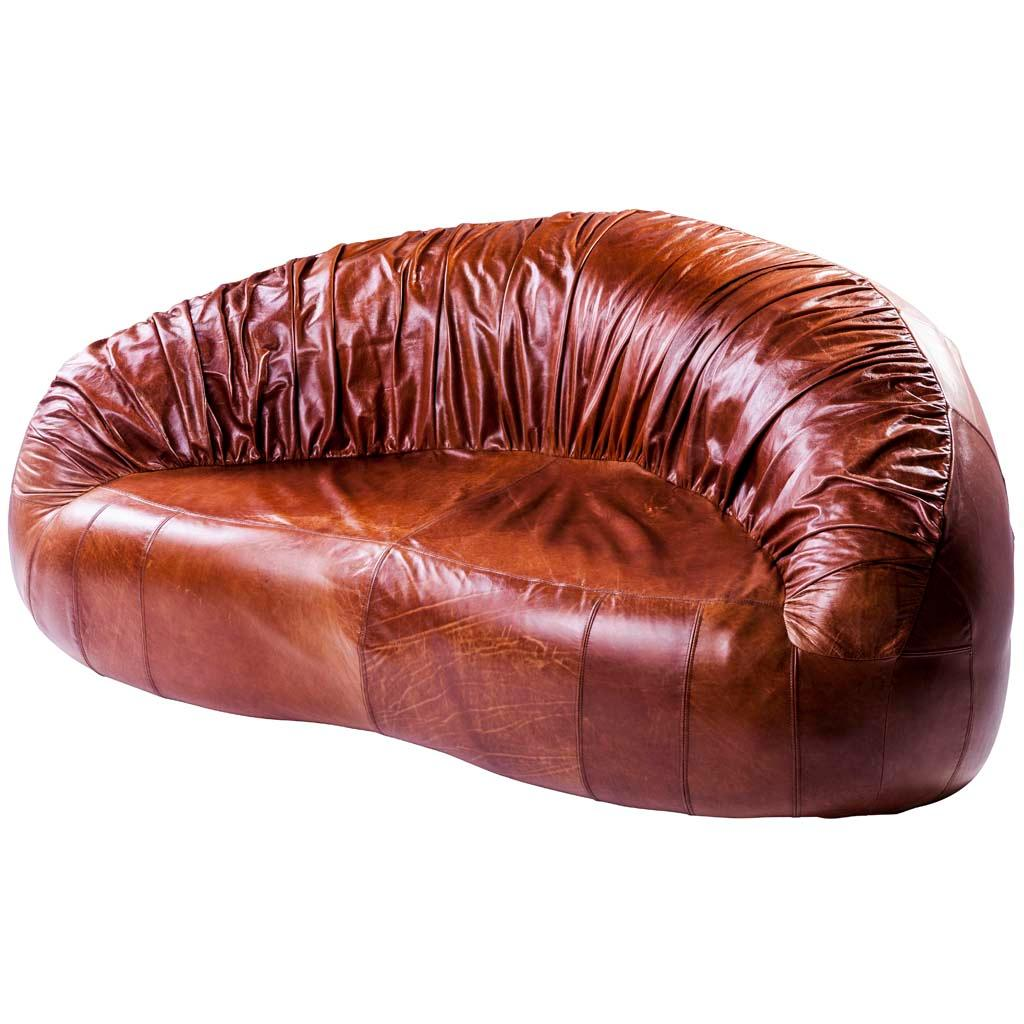 Retro Sofa Leather Pangolin Pleated Leather Contemporary Retro Style Sofa By Egg Designs