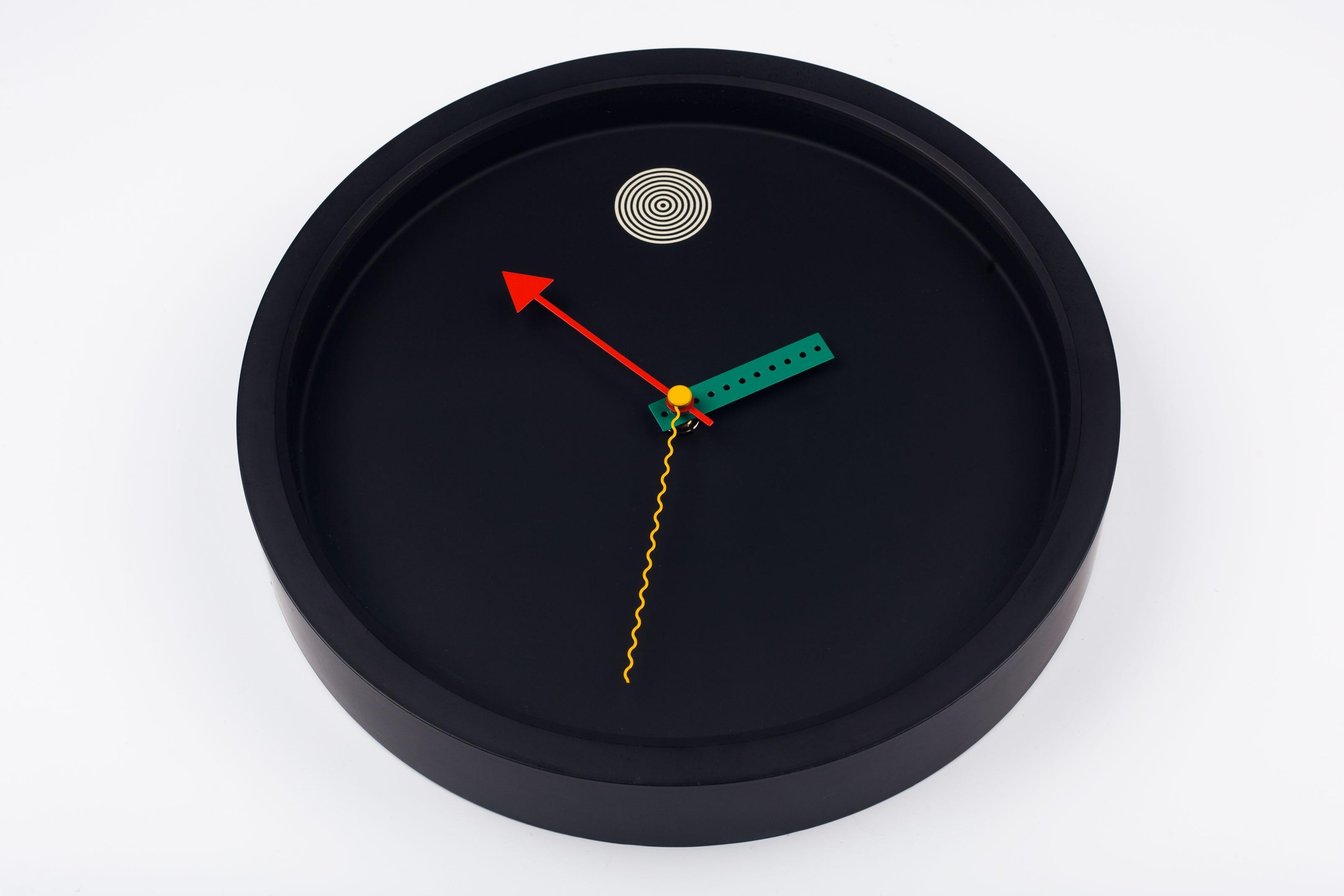 Black Wall Clock Postmodern Black Wall Clock By Shohei Mihara For Wakita Japan 1980s
