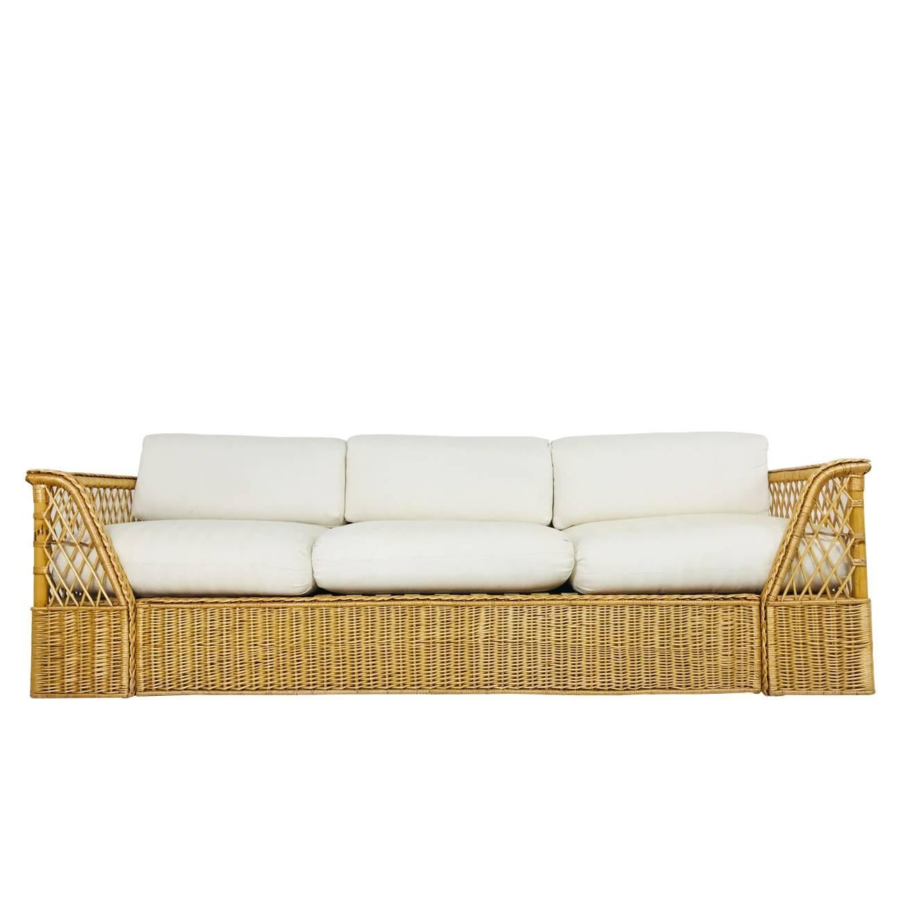 Table Lounge Garden Furniture Couch Rattan Png Download 1500 Rattan Sofa With Upholstered Cushions By Mcguire