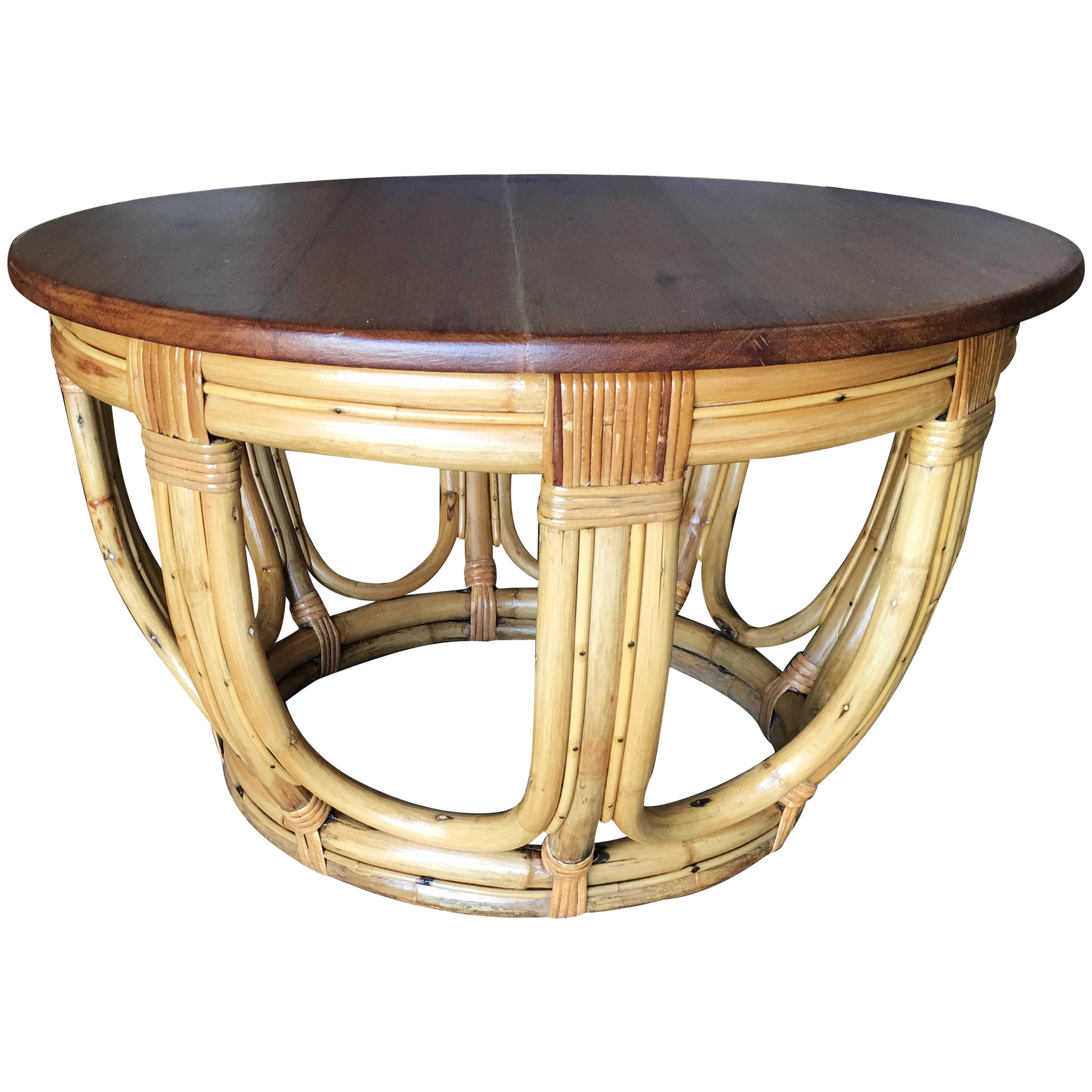 Rattan Table Restored Round Rust Rattan Coffee Table With Mahogany Top And Fancy Wrappings