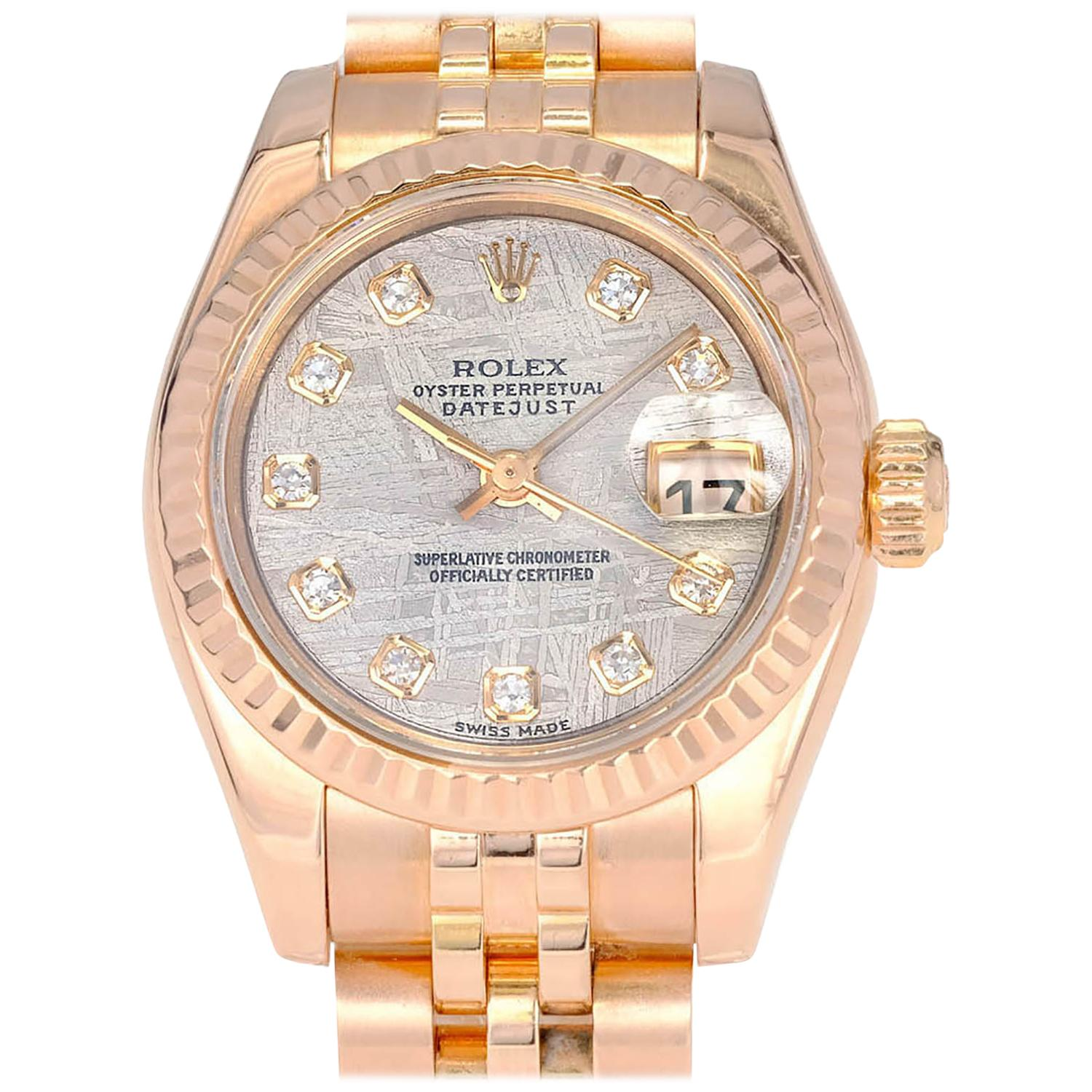 Rolex Oyster Perpetual Rose Gold Rolex Ladies Rose Gold Datejust Wristwatch