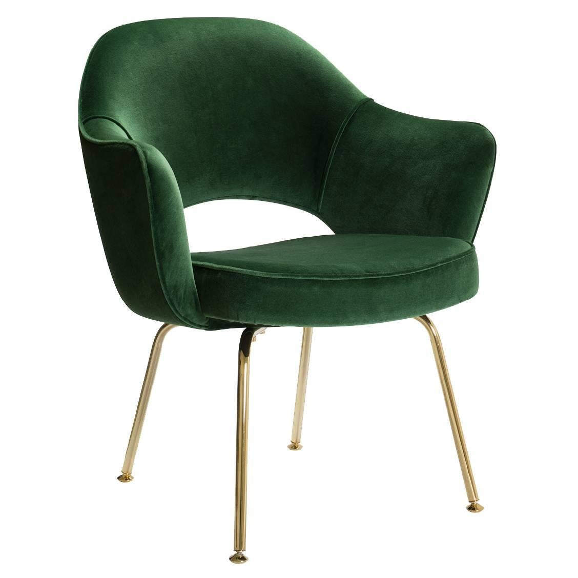 Chair Saarinen Saarinen Executive Arm Chairs In Crème Leather Swivel Base 24k Gold Edition