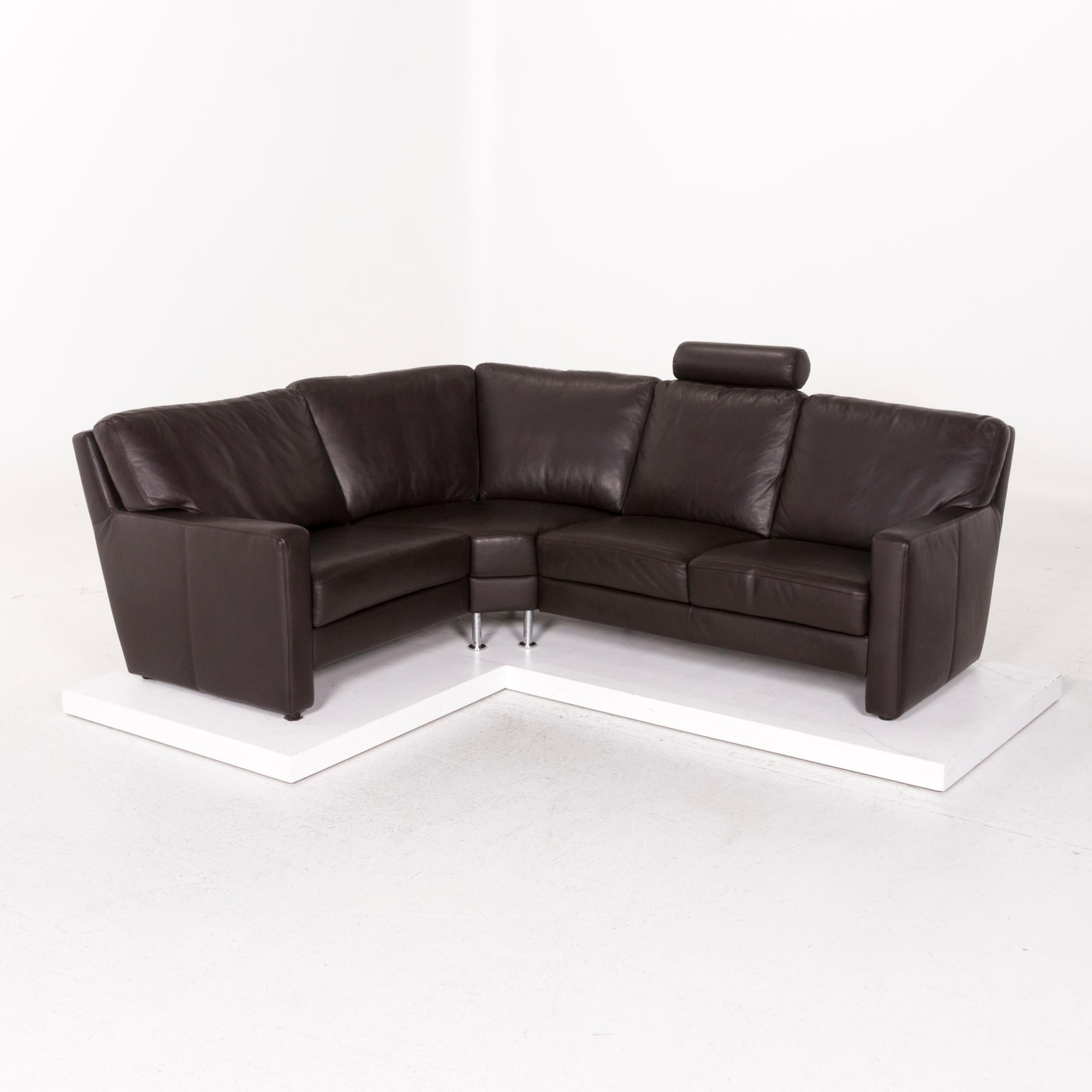 Sample Ring Leather Corner Sofa Brown Dark Brown Sofa Couch For Sale At 1stdibs