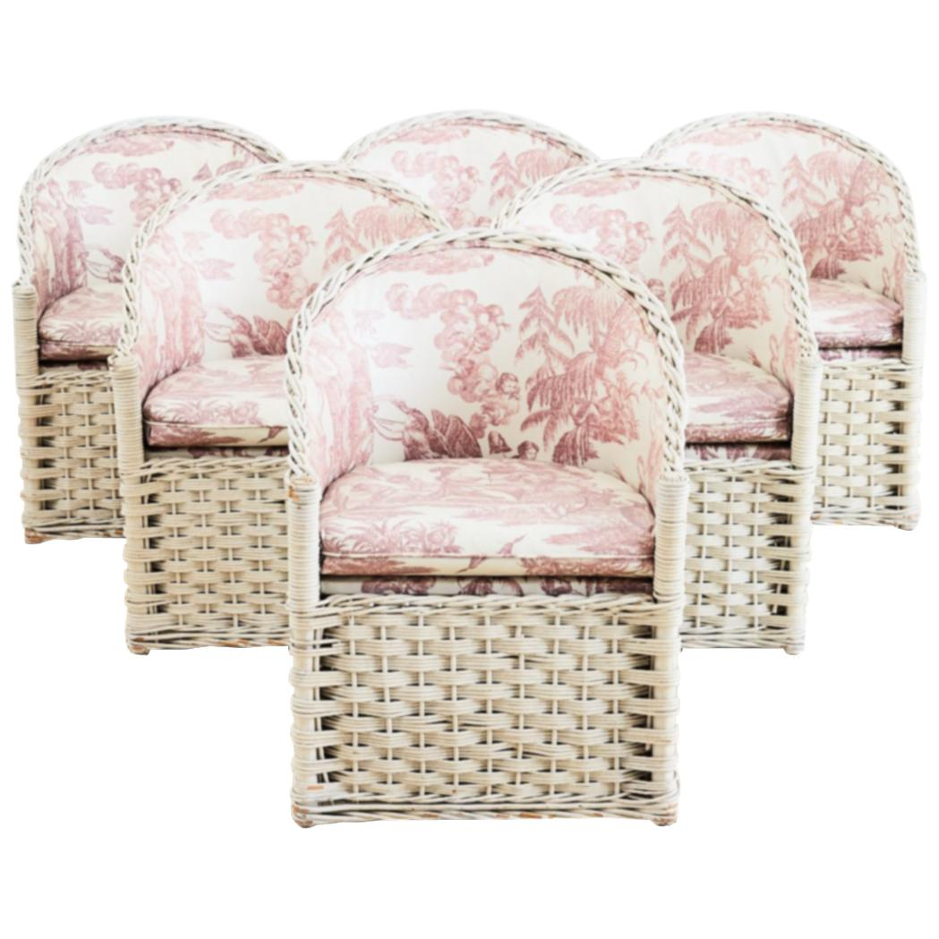 Painted Rattan Furniture Set Of Six Painted Rattan And Wicker Garden Chairs