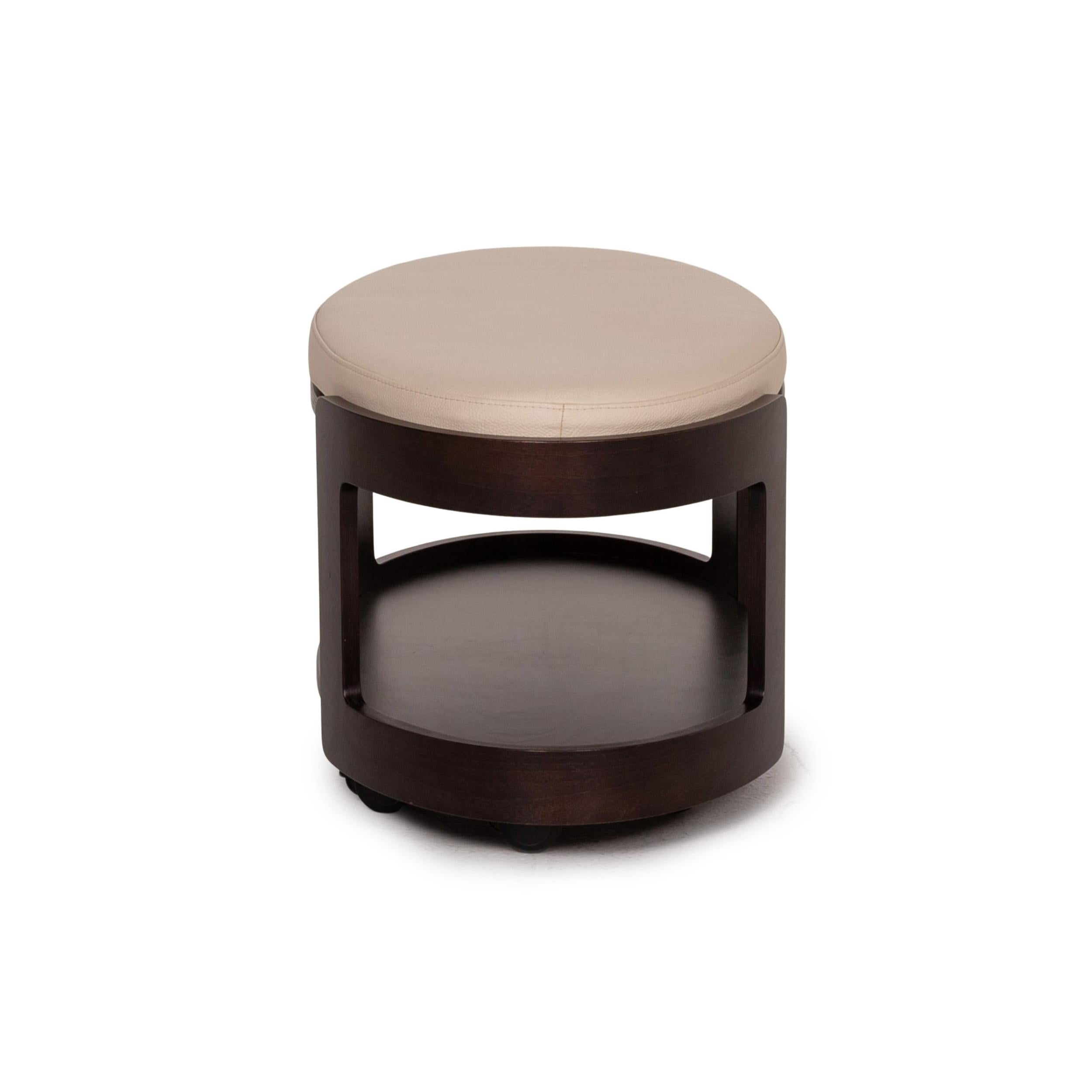 Stressless Leather Wood Coffee Table Dark Brown Cream Table Stool For Sale At 1stdibs - Stressless Tisch