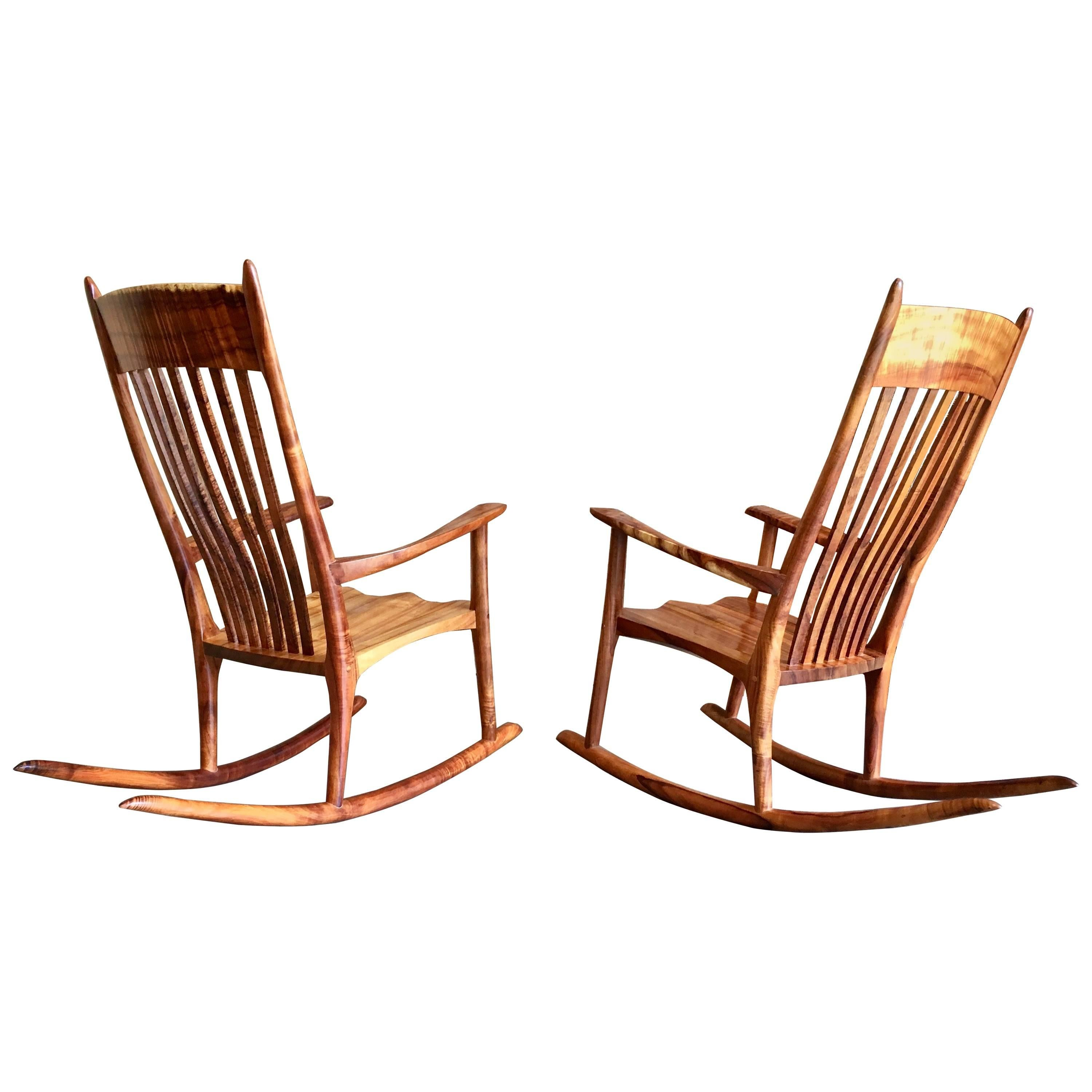 Wood Rocking Chair Studio Crafted Koa Wood Rocking Chairs By Stan Gollaher
