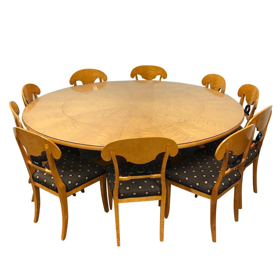 Round Dining Table With Extensions 1800s Swedish Biedermeier Dining Suite 10 Chairs Extension 80