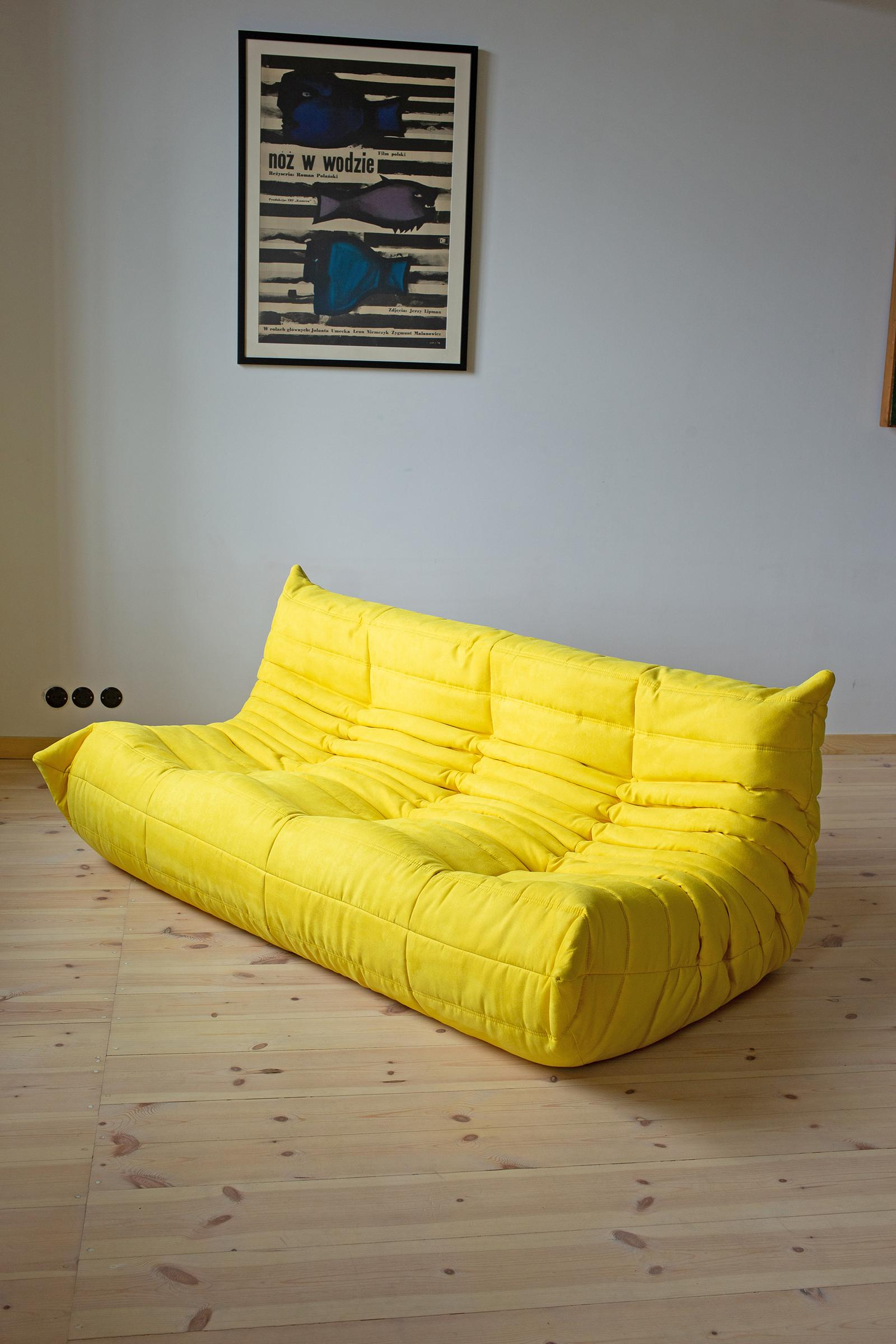 Togo Sofa Togo Sofa Set By Michel Ducaroy For Ligne Roset In Yellow Microfibre