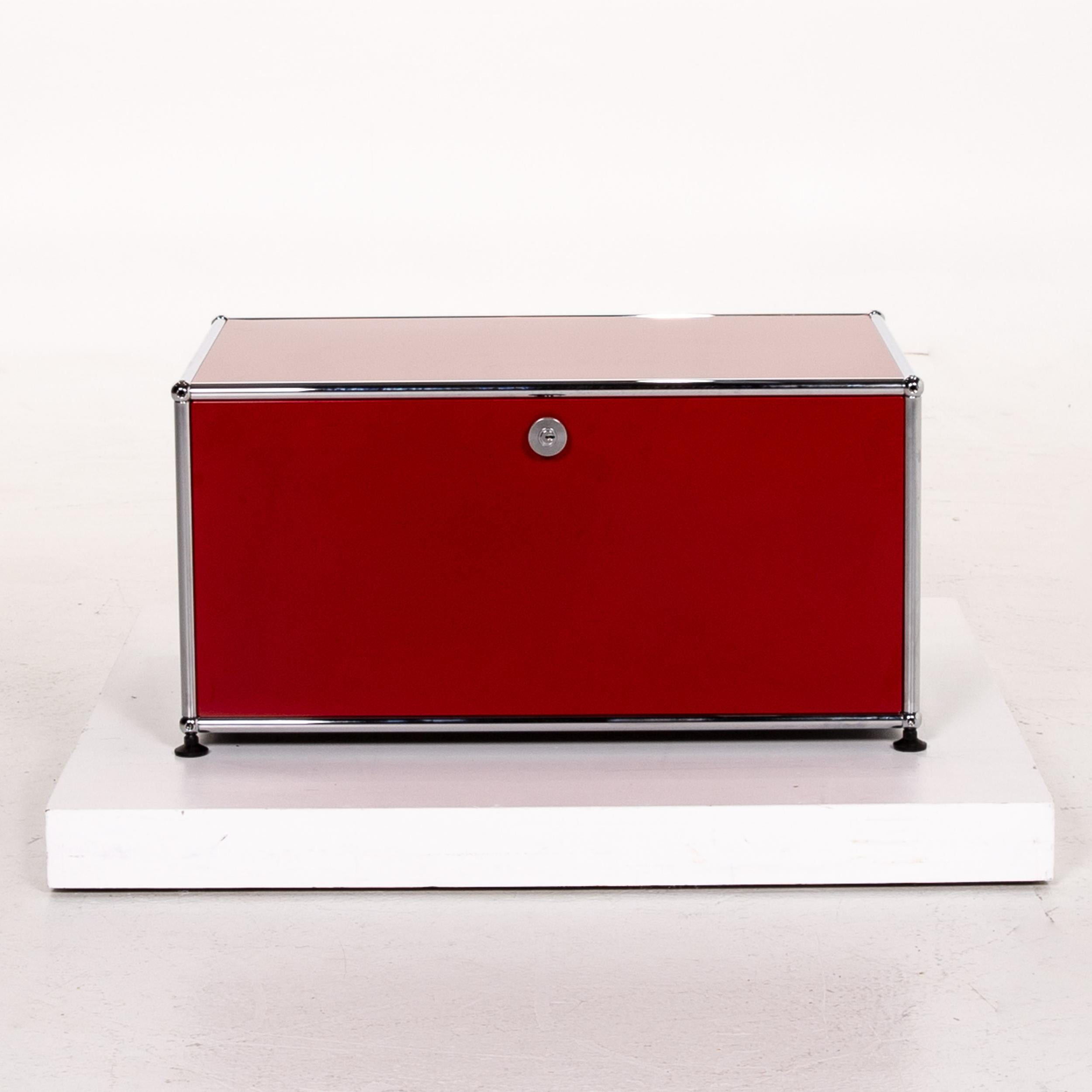 Usm Haller Metal Lowboard Red Sideboard Container Chrome Office For Sale At 1stdibs