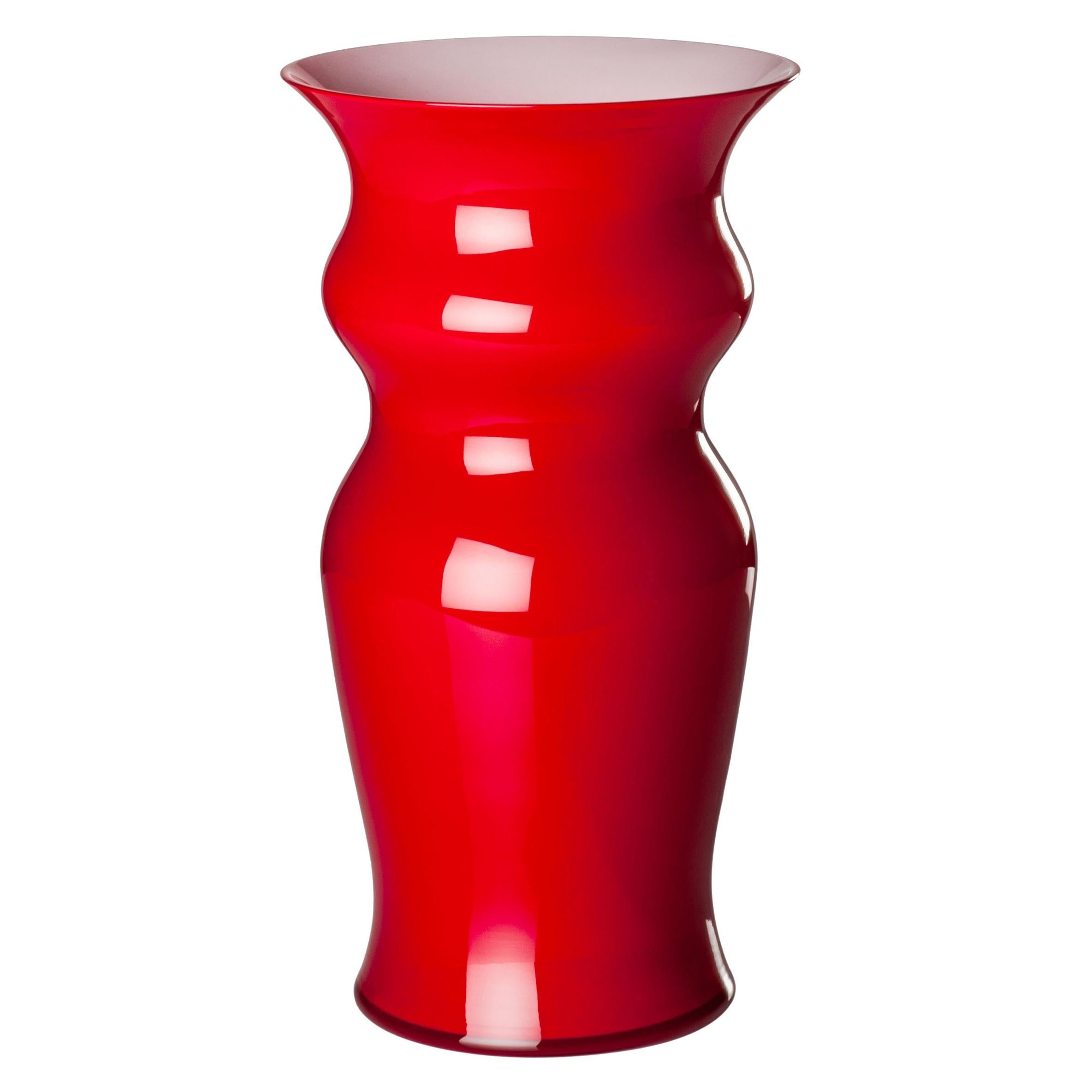 Leonardo Vase Venini Tall Odalische Glass Vase In Red By Leonardo Ranucci