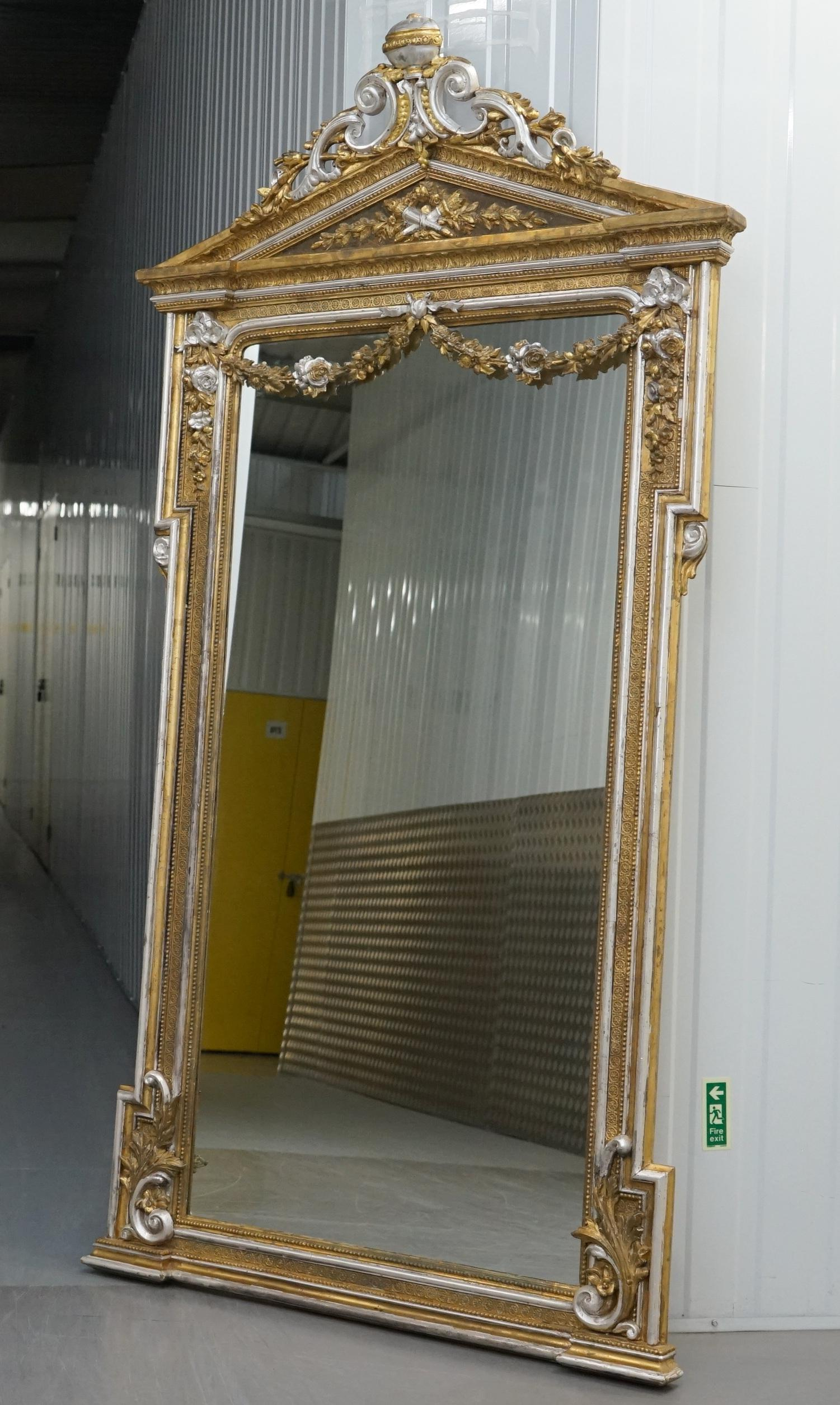 Free Standing Mirror Very Victorian Gold And Silver Leaf Painted Carved Antique Full