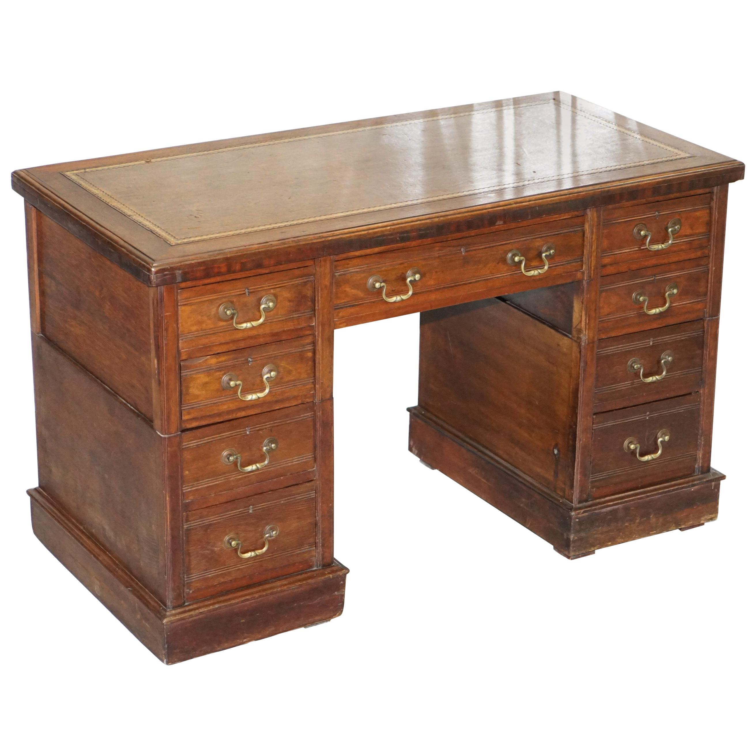 Timber Computer Desk Victorian Mahogany Twin Pedestal Partner Desk Original Timber Nice Leather Top