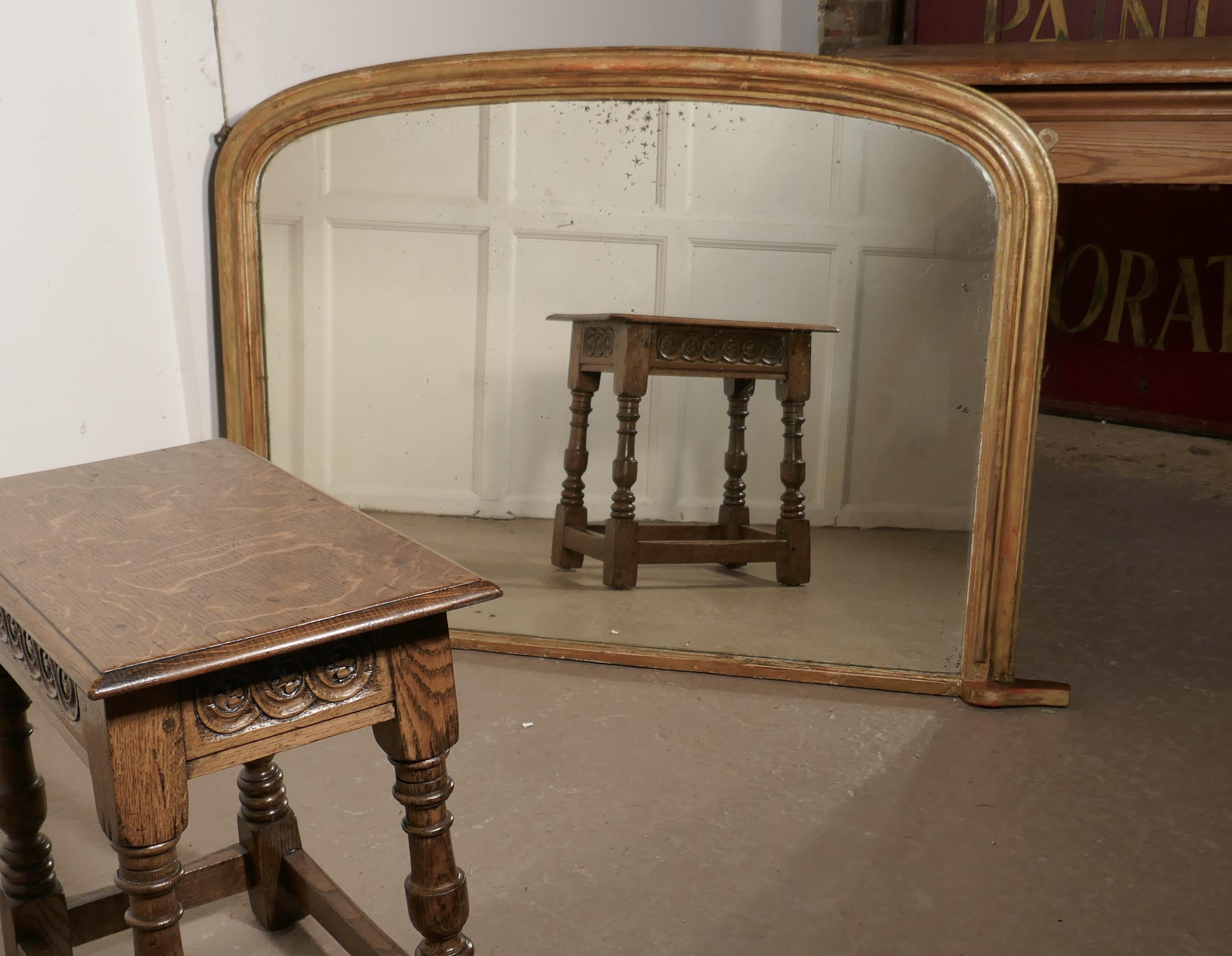 Shabby Look Victorian Original Shabby Look Gold Overmantel Mirror At 1stdibs