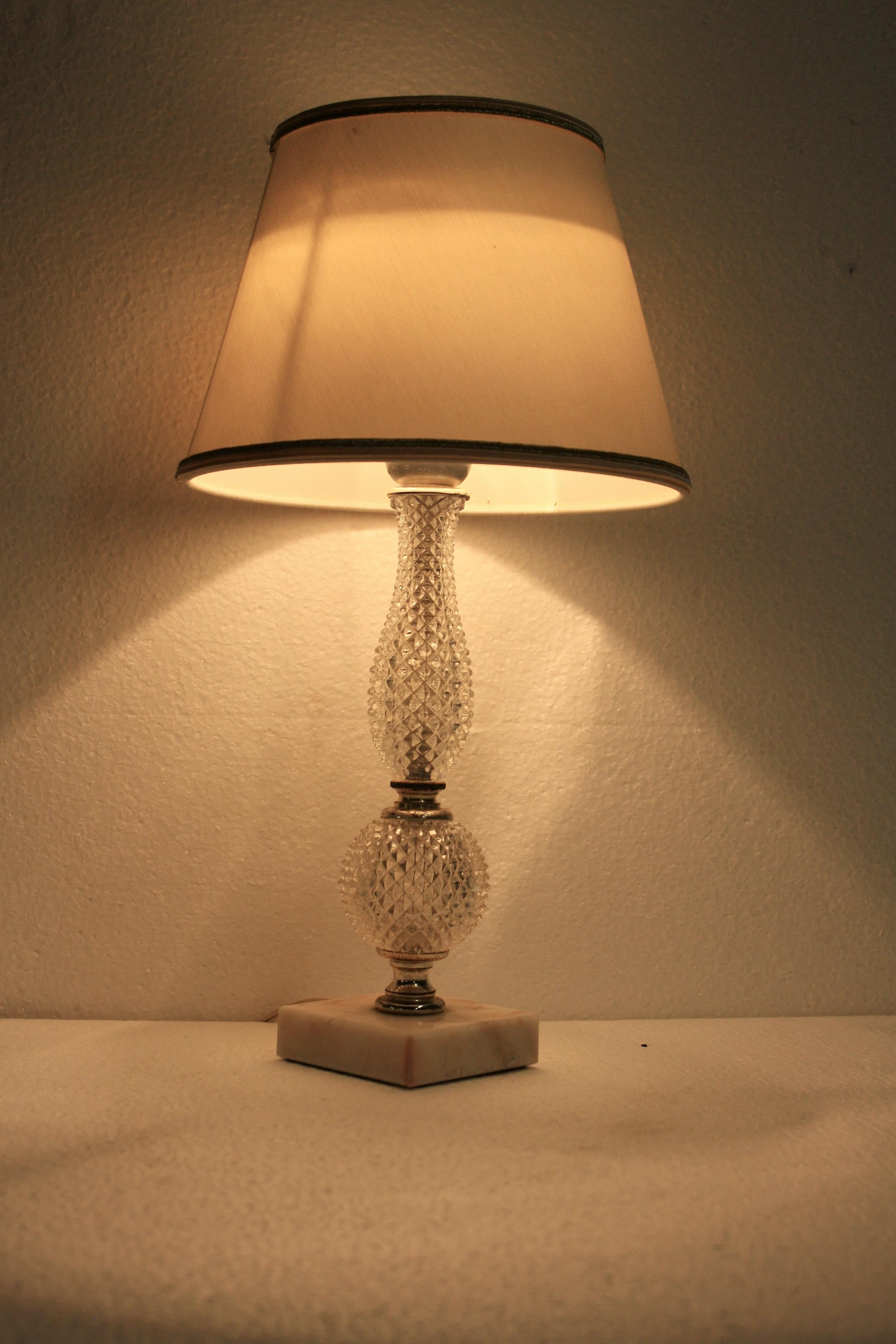 Rechmann Verlichting Weert Vintage Italian Table Lamp Made From Marble And Crystal 1960s