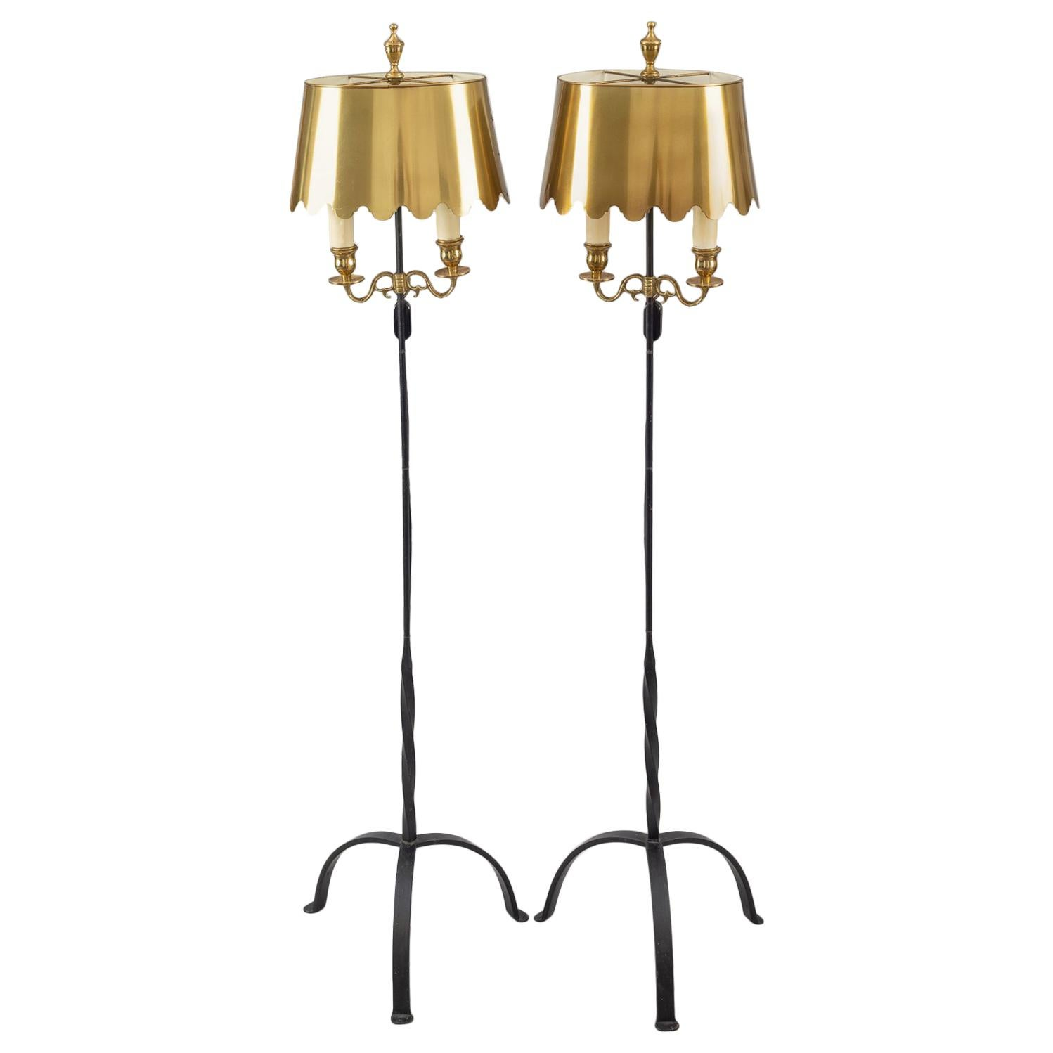 Pedestal Floor Lamps Vintage Pair Of Fortuny Wrought Iron And Brass Floor Lamps