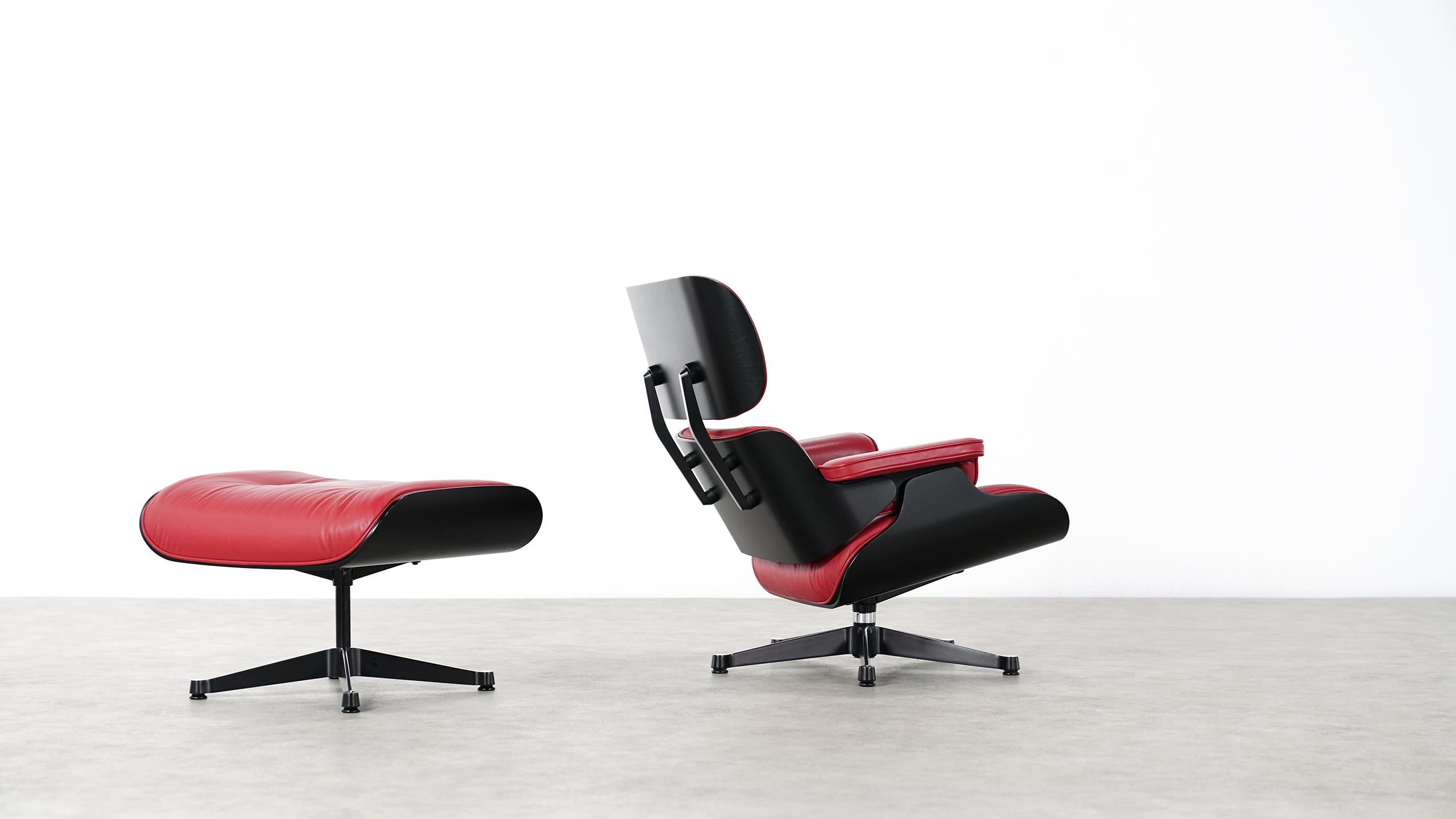 Vitra Eames Lounge Chair Vitra Charles Eames Lounge Chair And Ottoman By Vitra Red Leather Black Shells