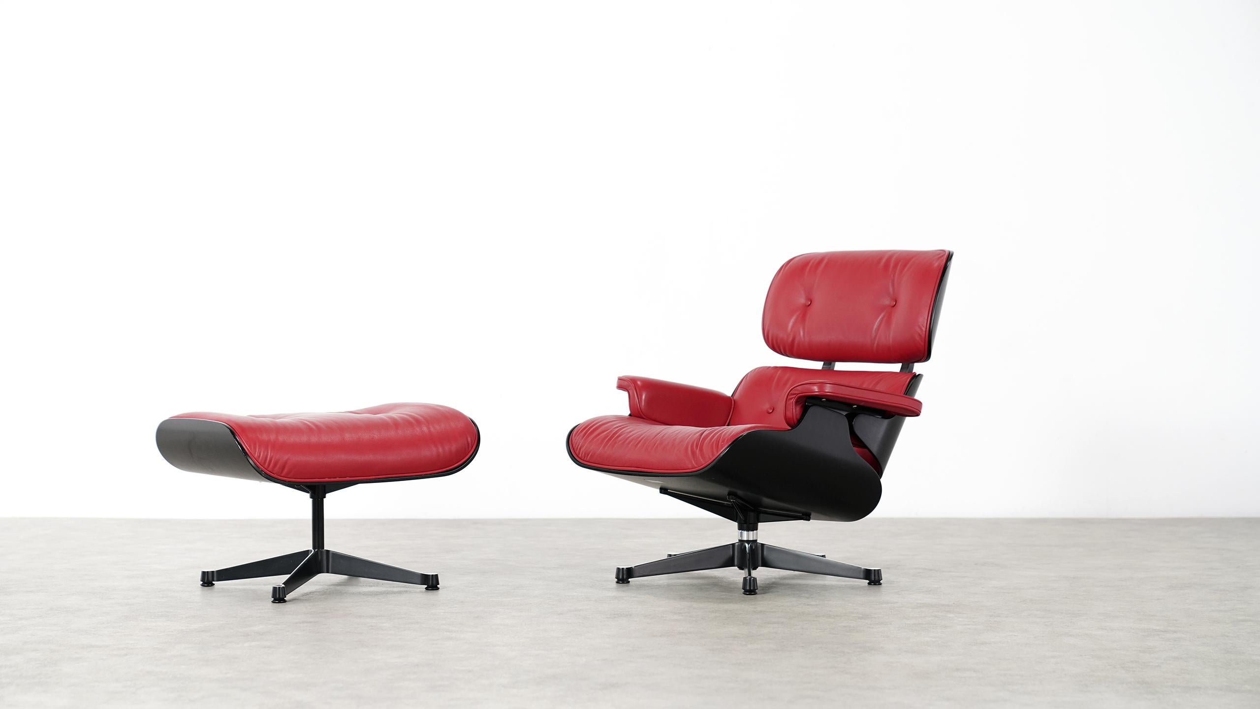 Eames Vitra Vitra Charles Eames Lounge Chair And Ottoman By Vitra Red Leather Black Shells