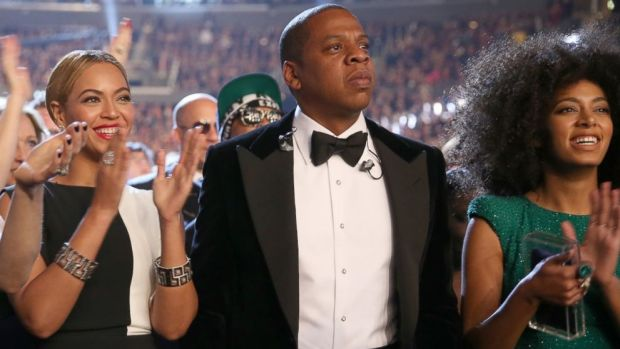 PHOTO: Singer Beyonce, left, rapper Jay-Z, center, and singer Solange Knowles attend the 55th Annual Grammy Awards at Staples Center, Feb. 10, 2013 in Los Angeles, California.