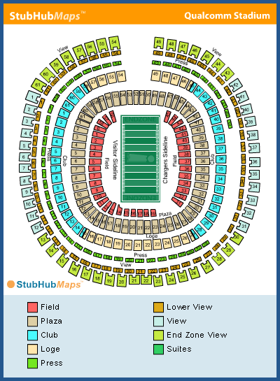 Qualcomm Stadium Seating Chart With Seat Numbers - Otvod on