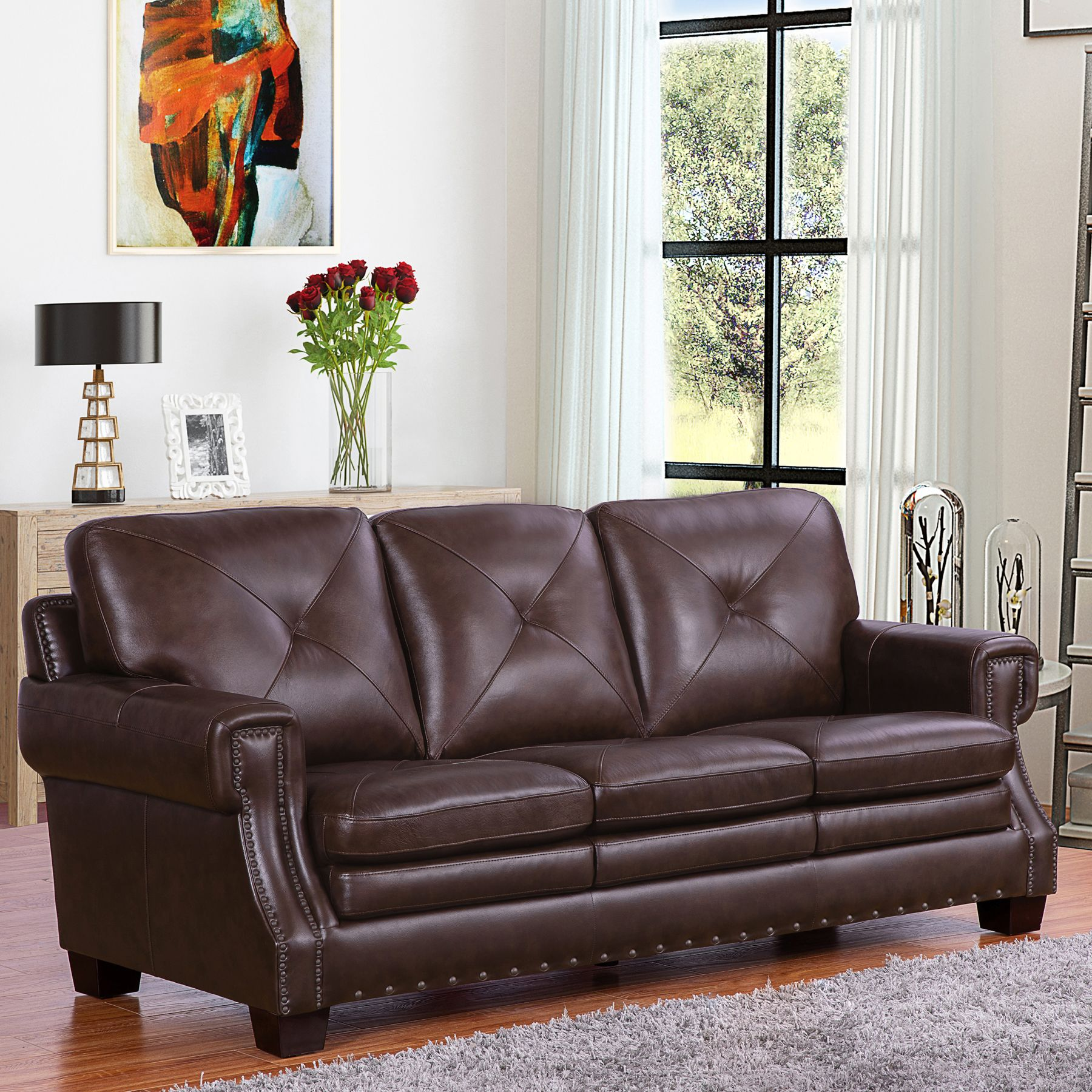Klassische Sofas You Can Assemble Stanley Top Grain Leather Sofa