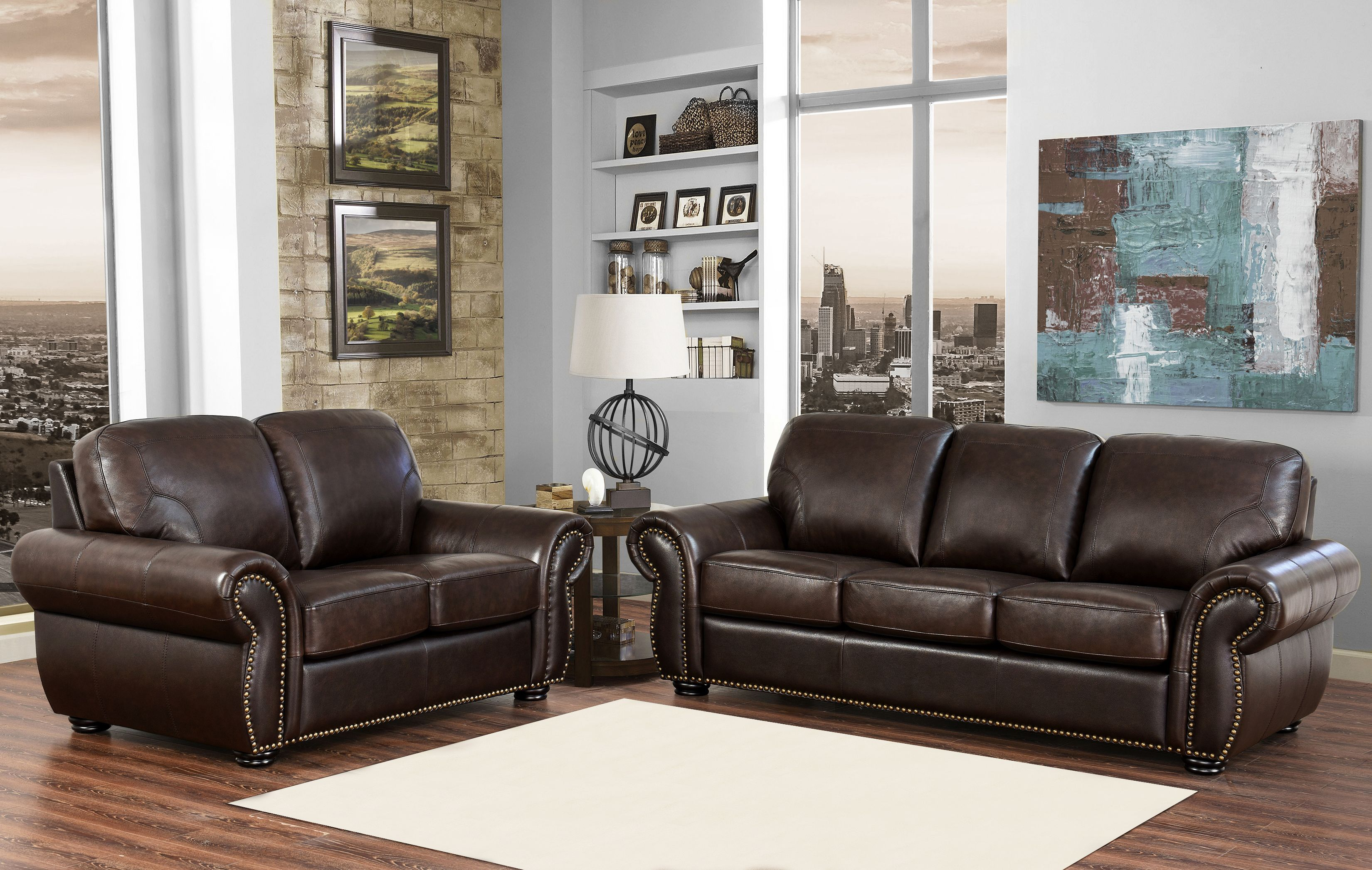 Leather Living Room Furnitures Breckenridge 2 Piece Top Grain Leather Living Room Set