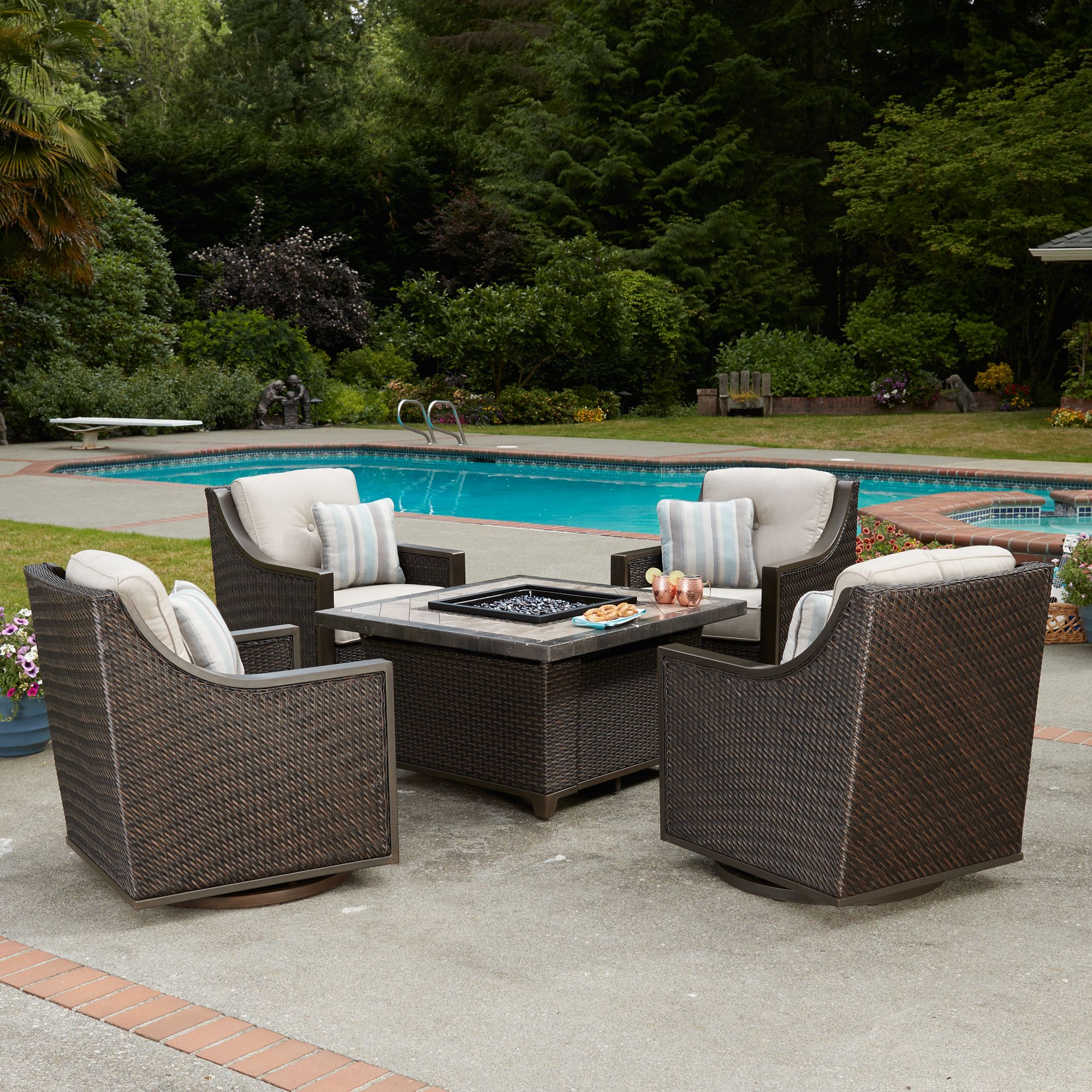 Table Lounge Garden Furniture Couch Rattan Png Download 1500 Cordova 5 Piece Fire Chat Set