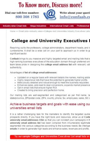 List of College email addresses - University and College email