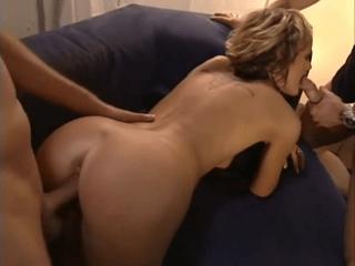 Blonde Cutie Taking Two Cocks. Double Facial Cumshot