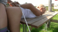 Blonde Forced And Banged On A Bench
