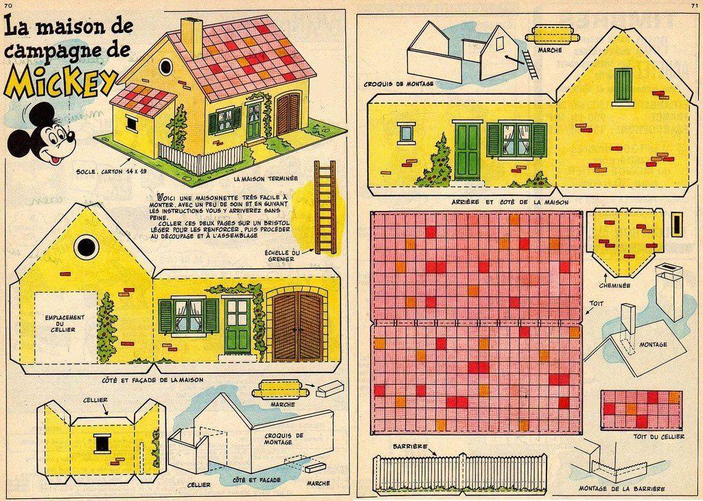Maison de campagne (de Mickey !) paper Pinterest Craft