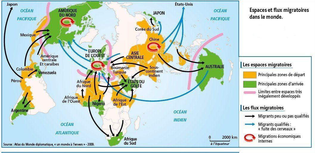 Espace et flux migratoire (2009) Demography Pinterest - classroom agenda template