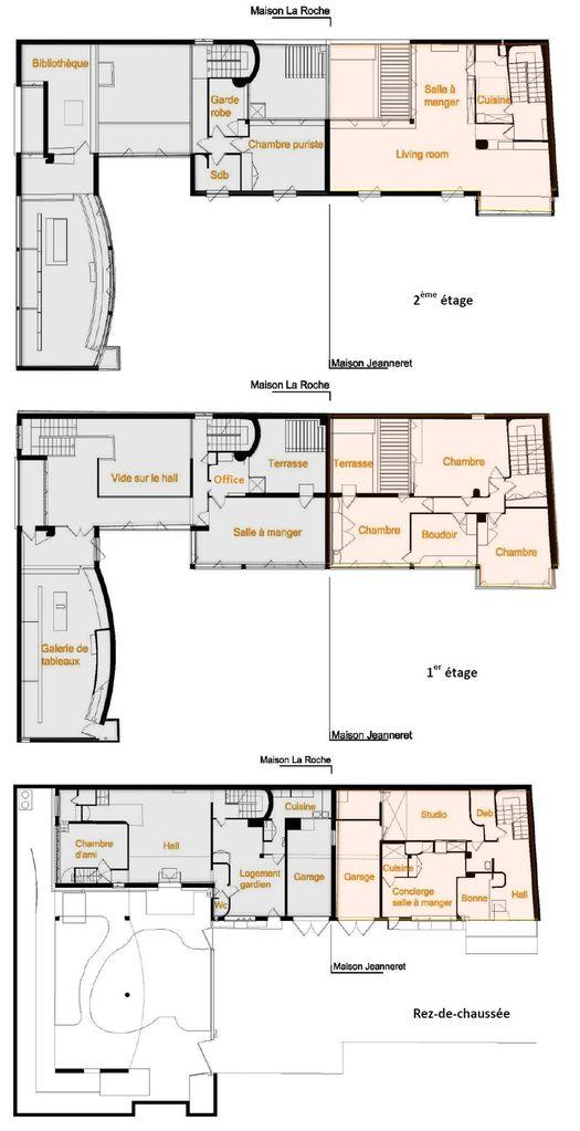 Villa La Roche ~Jeanneret (Le Corbusier) 1923 RSA Studio 501 - plan maison une chambre
