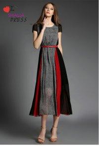 SH-020 Grey Black Red Striped Short Sleeve Maxi Dress ...