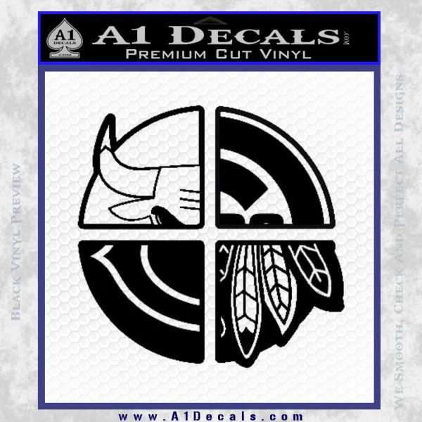 Chicago Pro Sports Decal Sticker Bulls Cubs Bears Black Vinyl