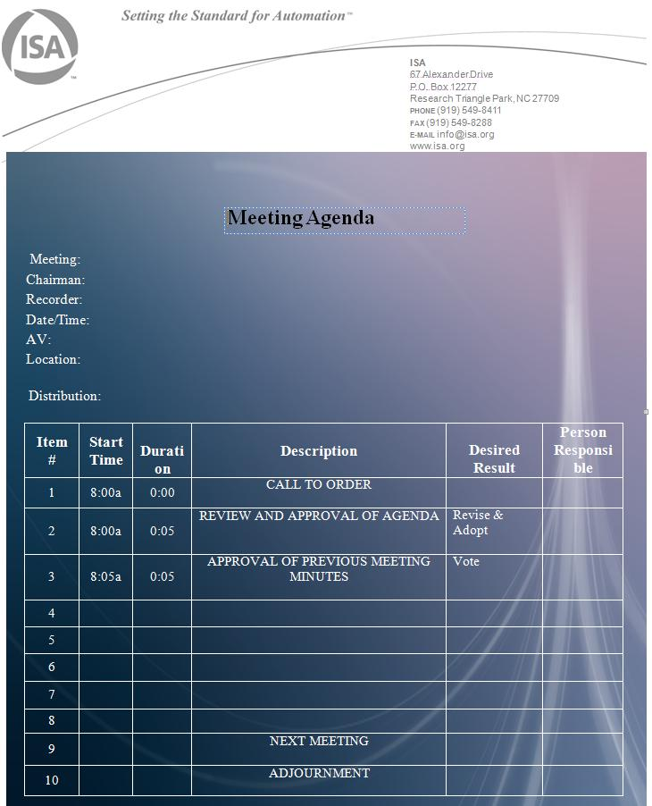microsoft meeting agenda template