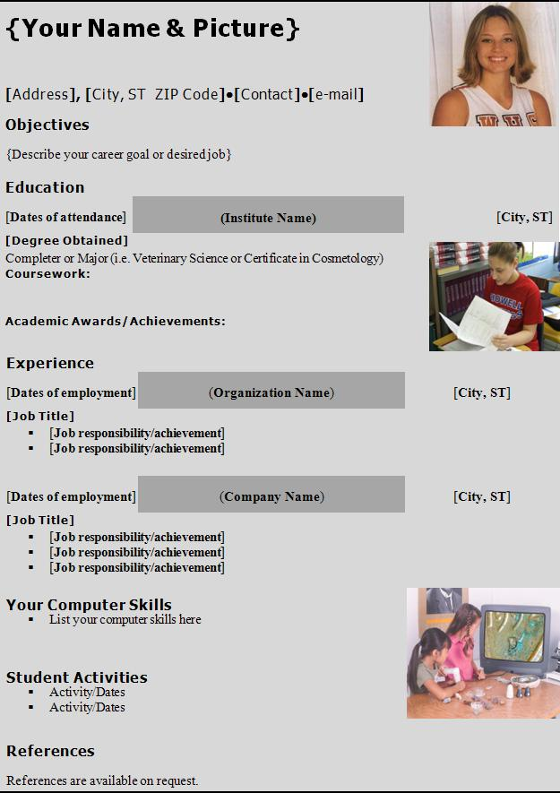 Resume Templates Graphics and Templates - high school resume template