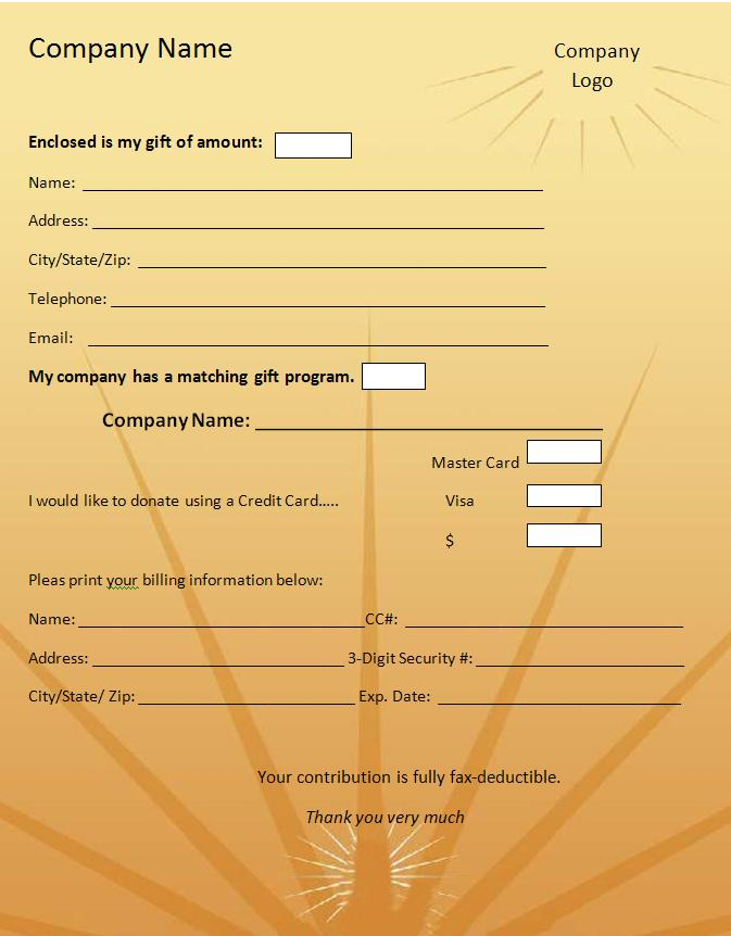 Donation Form Template Graphics and Templates - donation form templates
