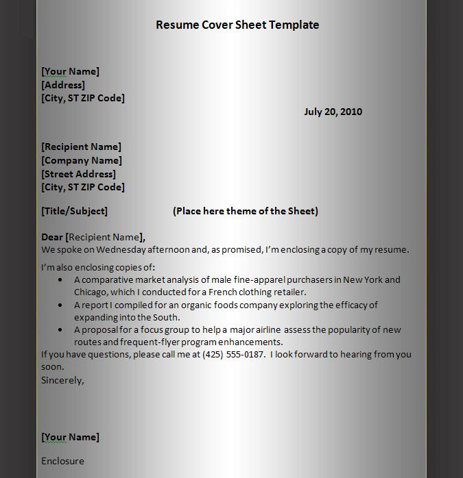 Resume Cover Sheet Template Graphics and Templates