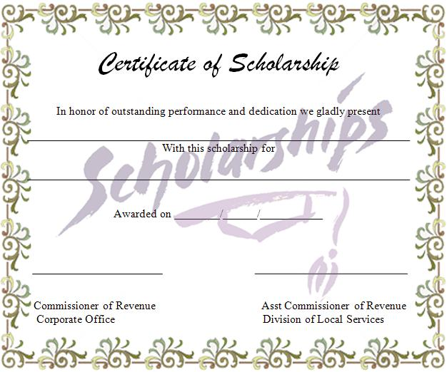Scholarship Certificate Template Graphics and Templates - sample scholarship certificate